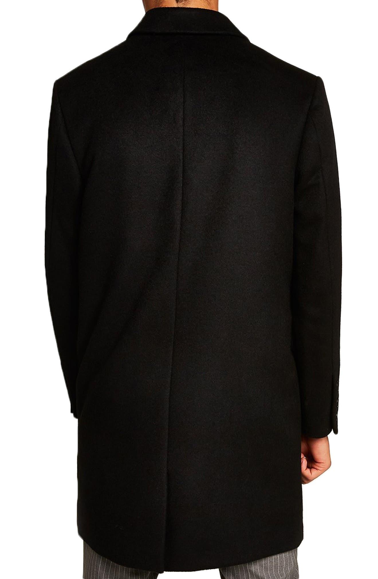 Wool Blend Overcoat,                             Alternate thumbnail 2, color,                             BLACK