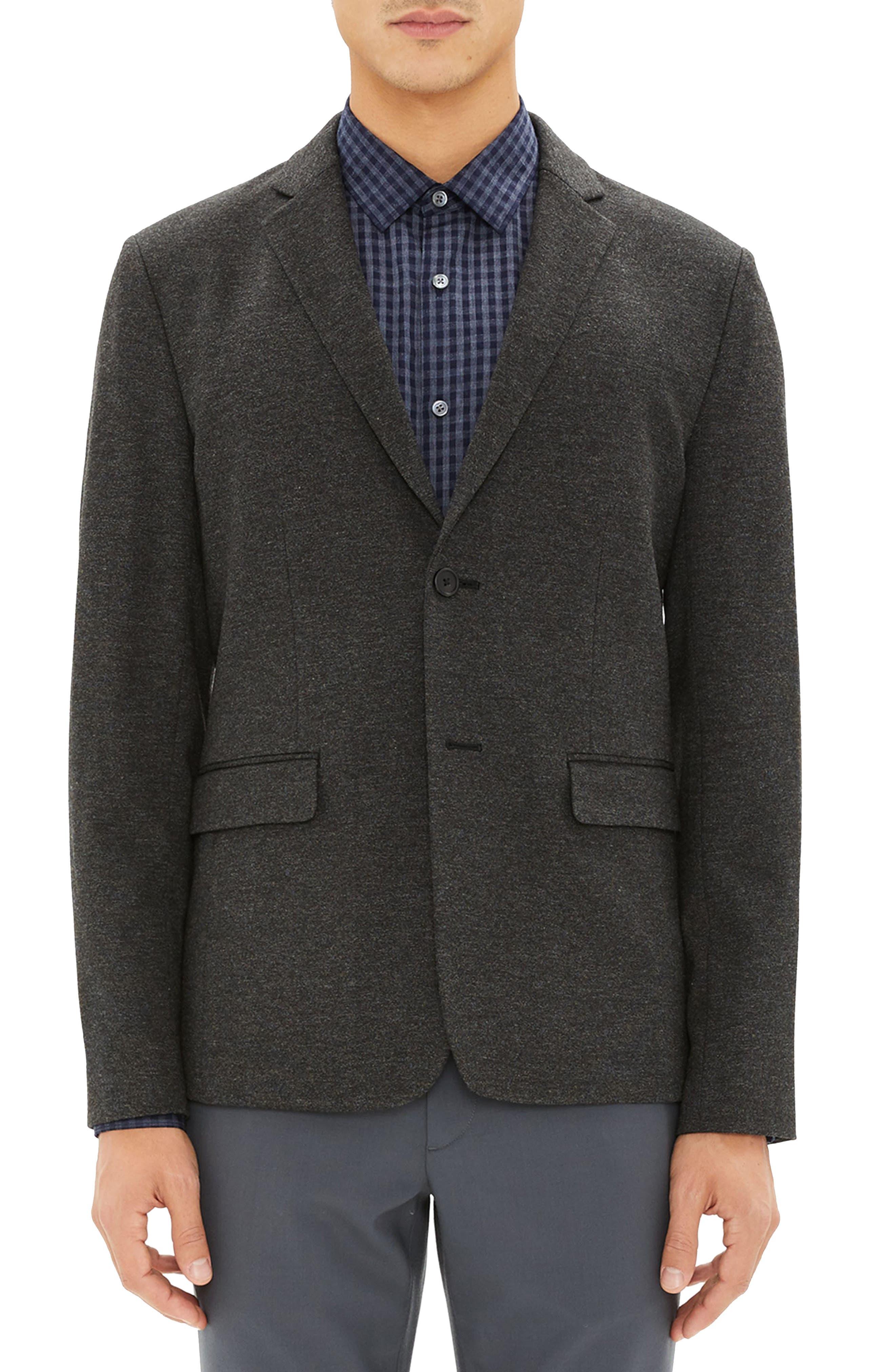 Clinton Marled Ponte Sport Coat,                         Main,                         color, DARK CHARCOAL MELANGE
