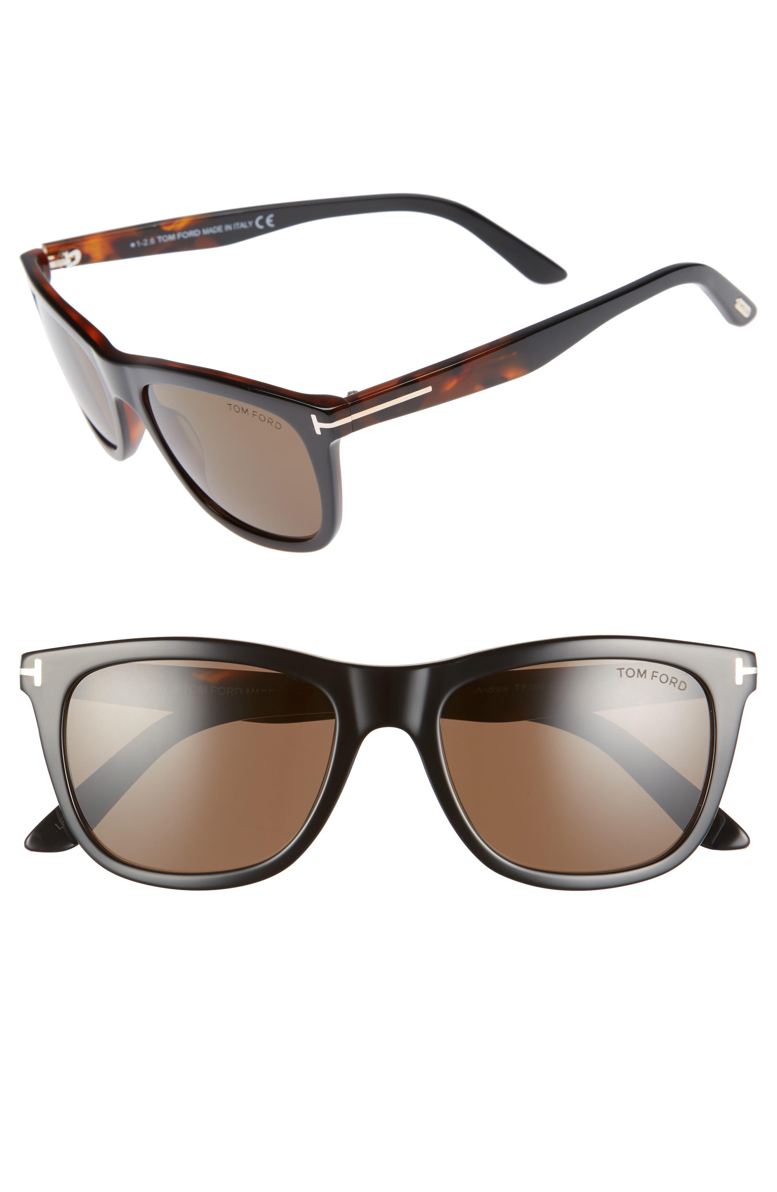 Andrew 54mm Polarized Sunglasses,                         Main,                         color, BLACK/ HAVANA
