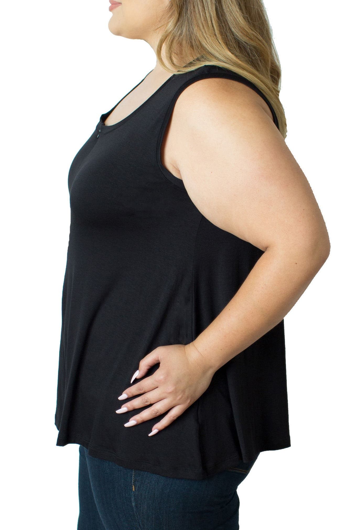 Zip Neck Nursing Tank,                             Alternate thumbnail 3, color,                             BLACK