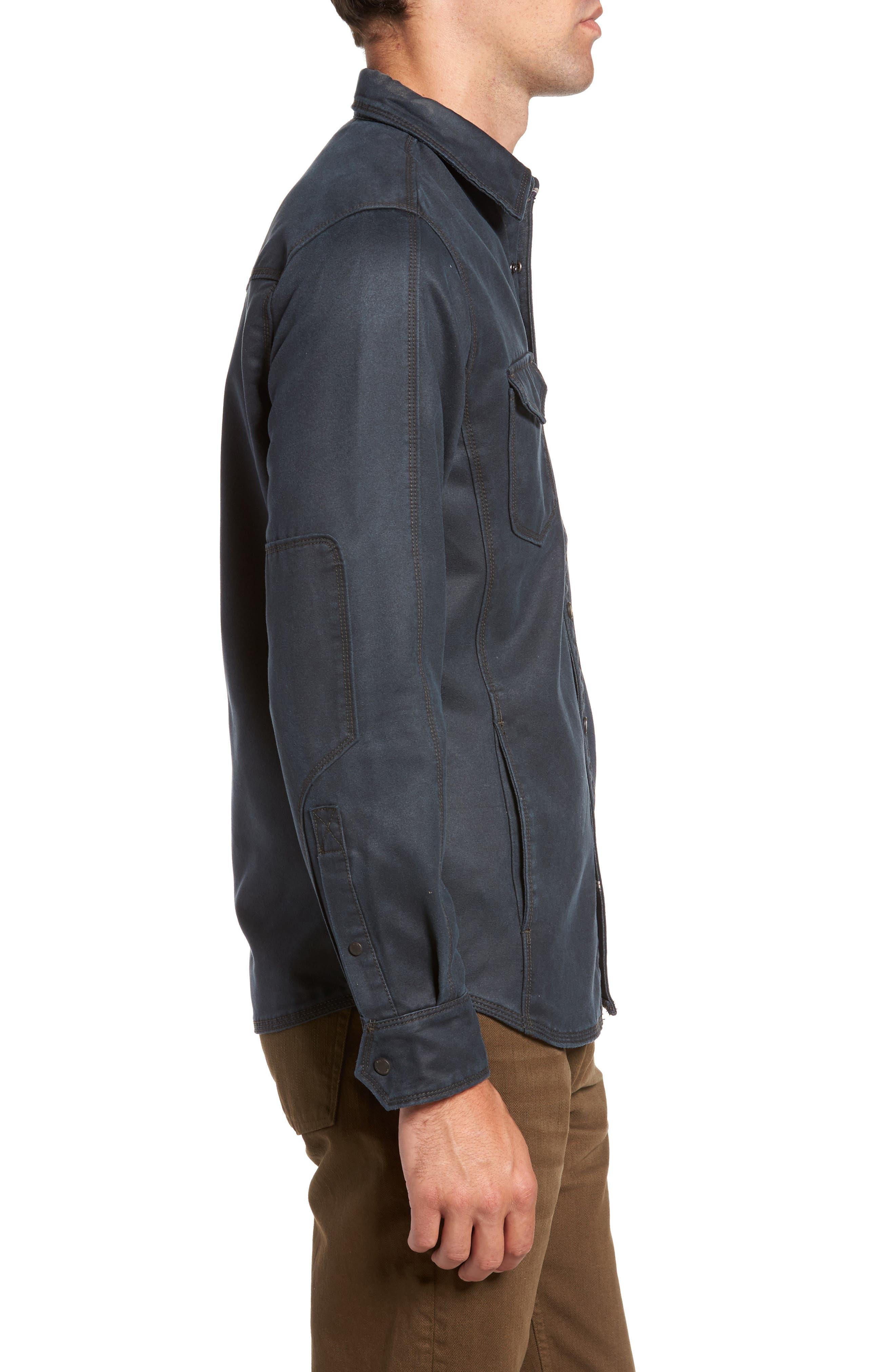 'Colt' Regular Fit Sueded Cotton Blend Shirt Jacket,                             Alternate thumbnail 3, color,                             INKWELL