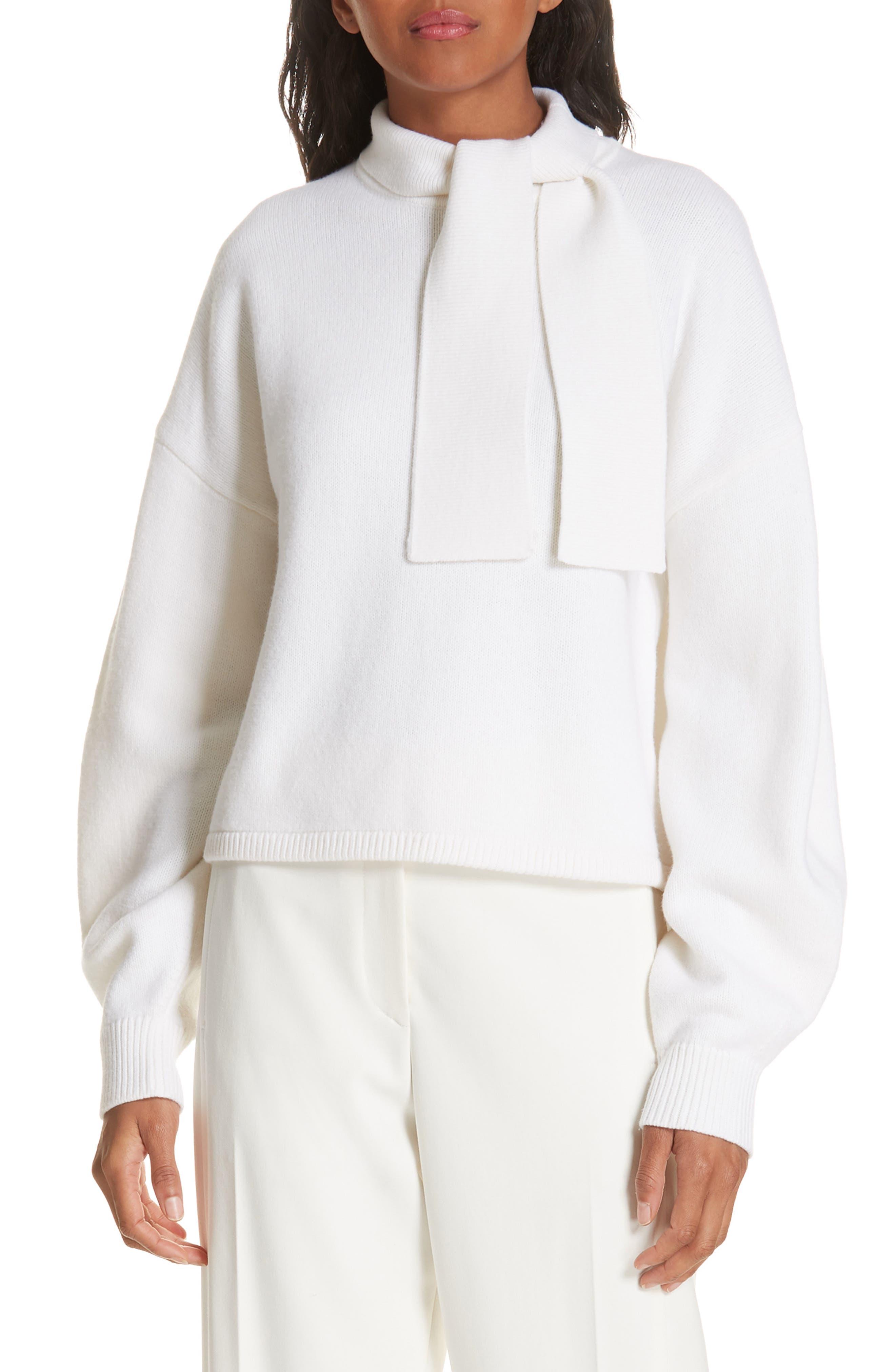Tibi Airy Merino Wool Blend Sweater, Ivory
