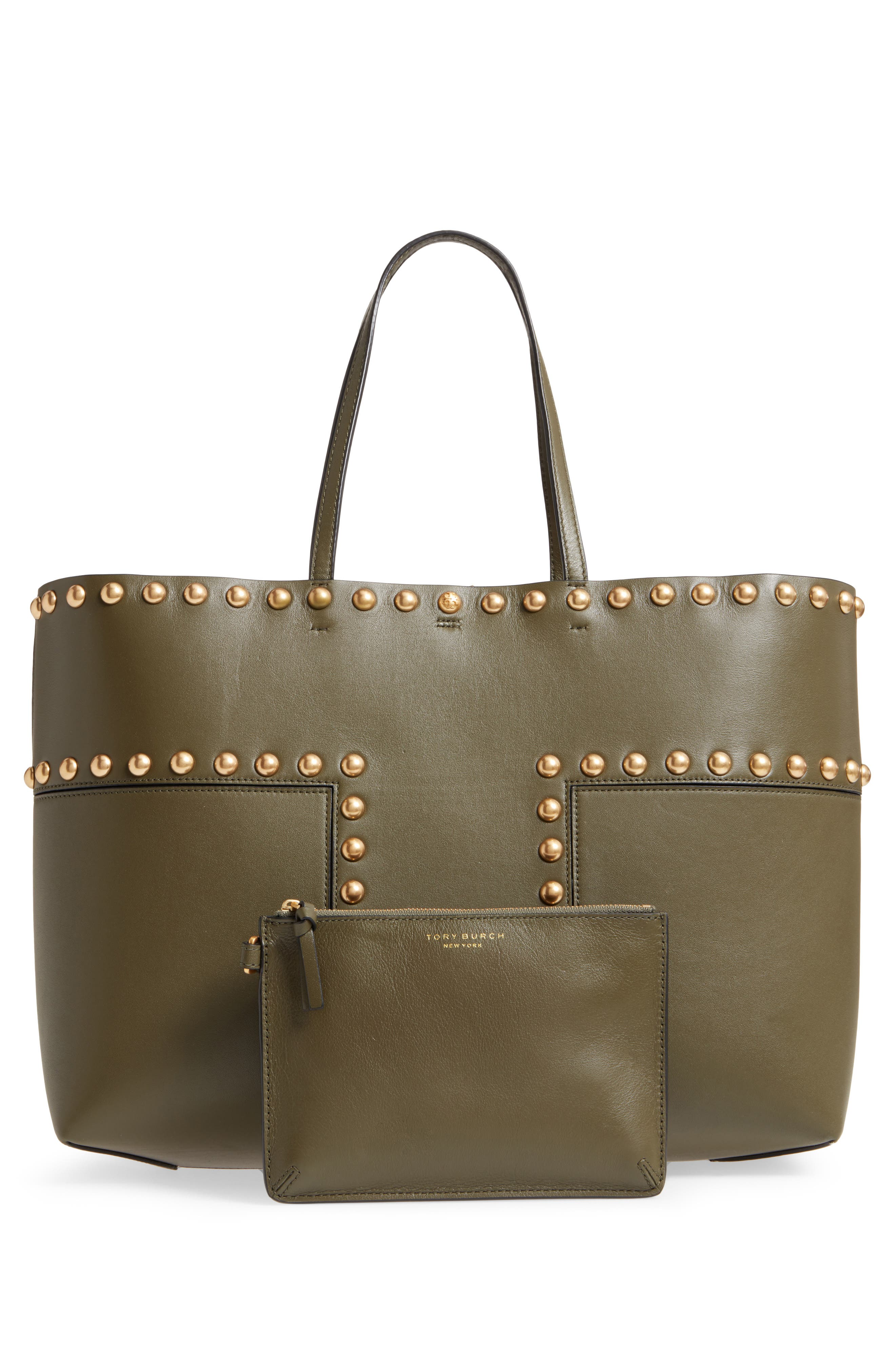 Block-T Studded Leather Tote,                             Alternate thumbnail 3, color,                             300