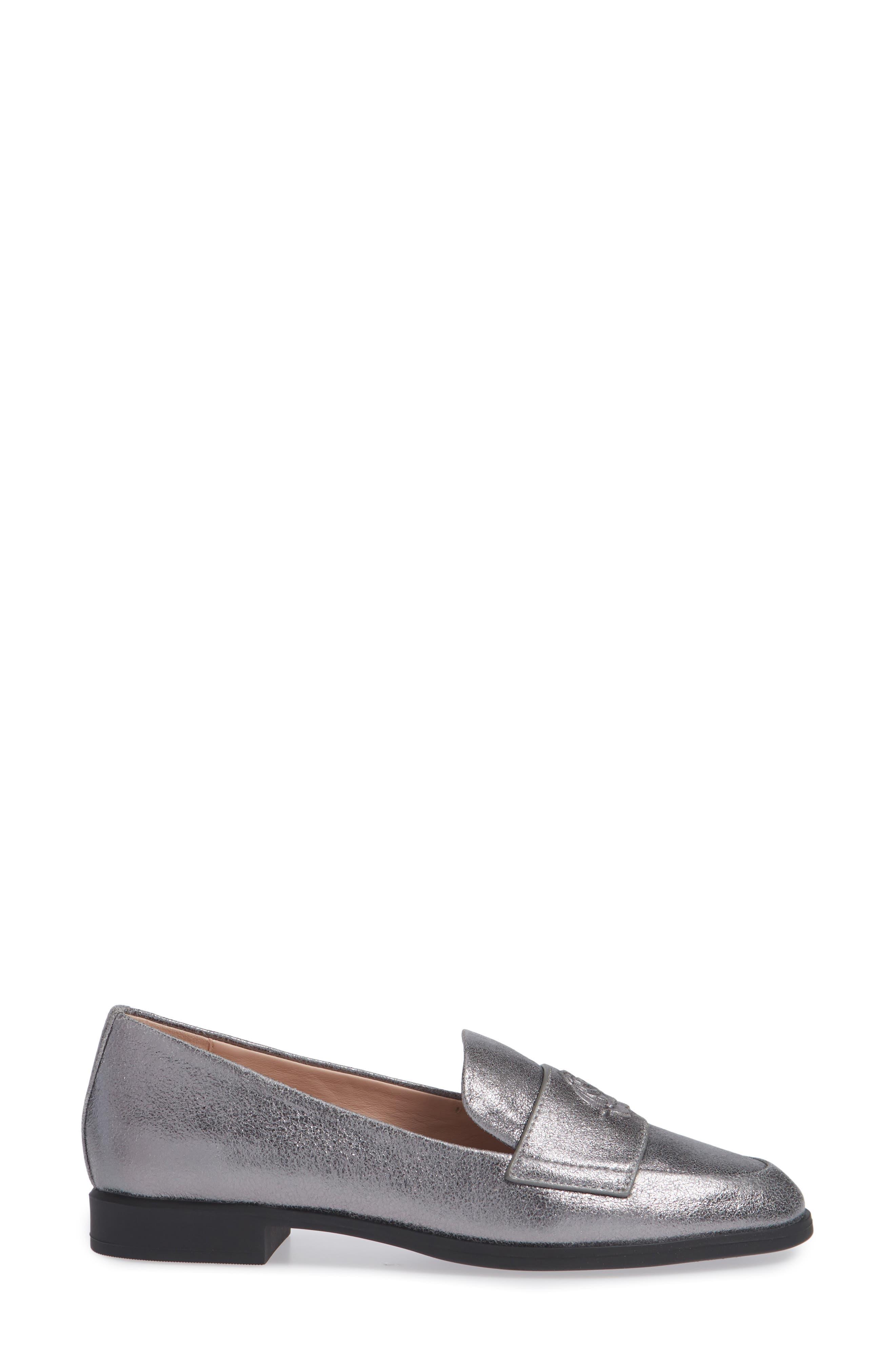 Blossom Loafer,                             Alternate thumbnail 3, color,                             GUNMETAL LEATHER