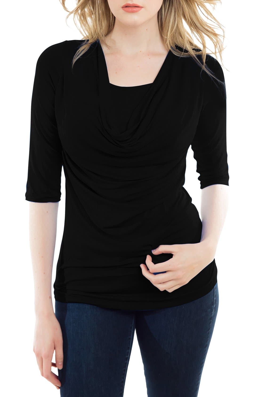 Cowl Neck Maternity/Nursing Top,                             Main thumbnail 1, color,                             001