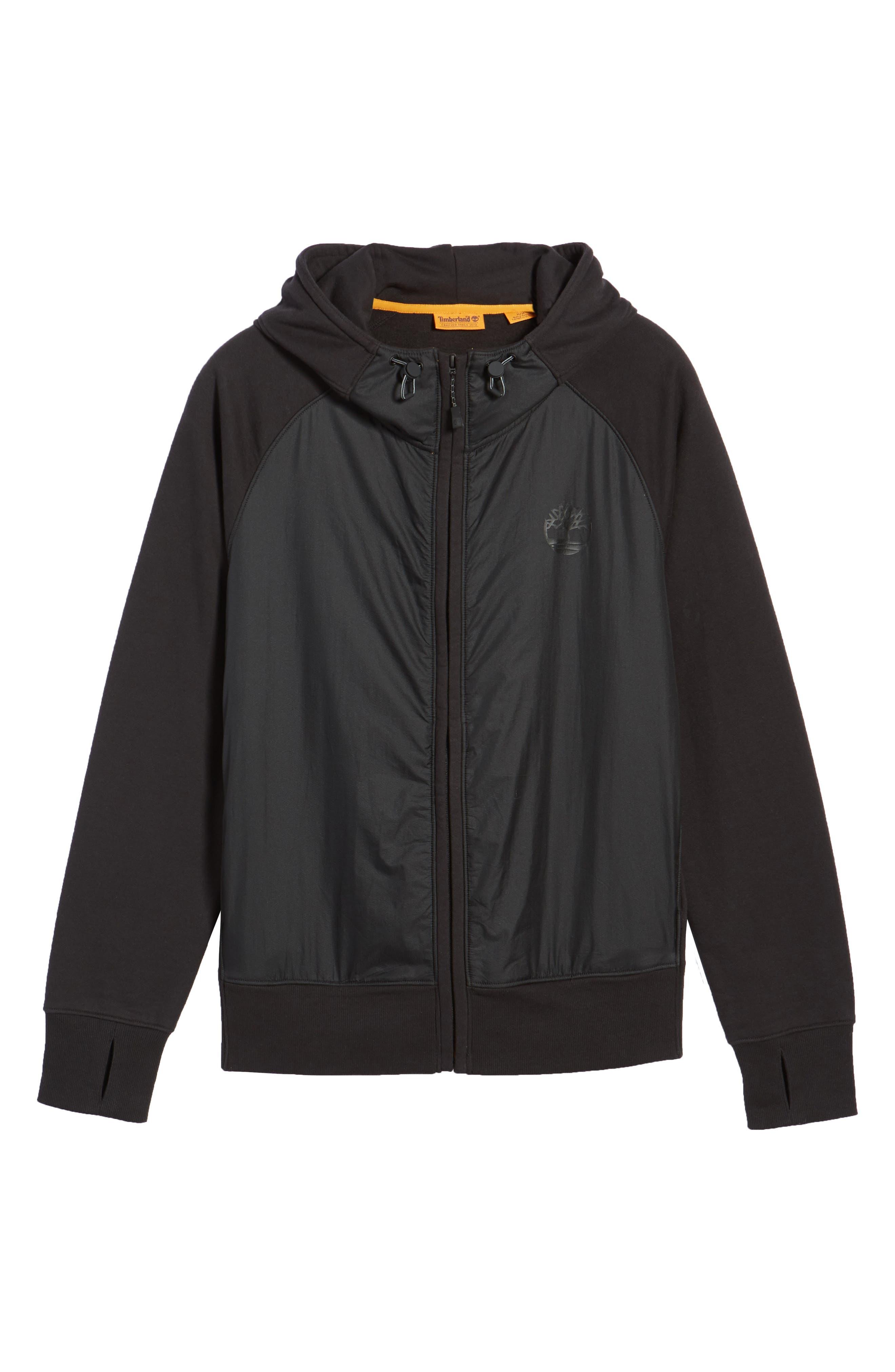 Mixed Media Hooded Jacket,                             Alternate thumbnail 6, color,                             001