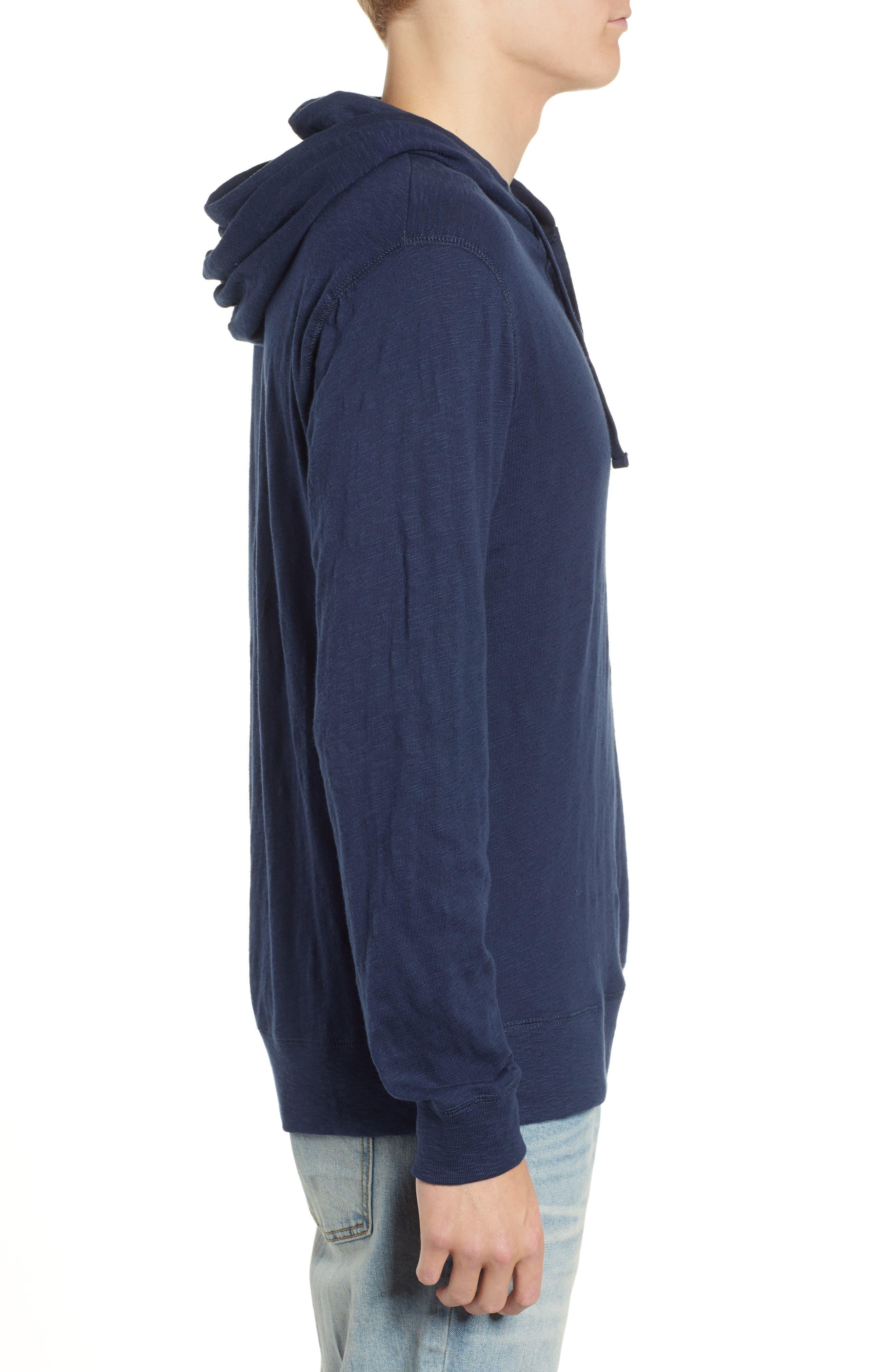 Stinson Hooded Long Sleeve Henley,                             Alternate thumbnail 3, color,                             NAVY