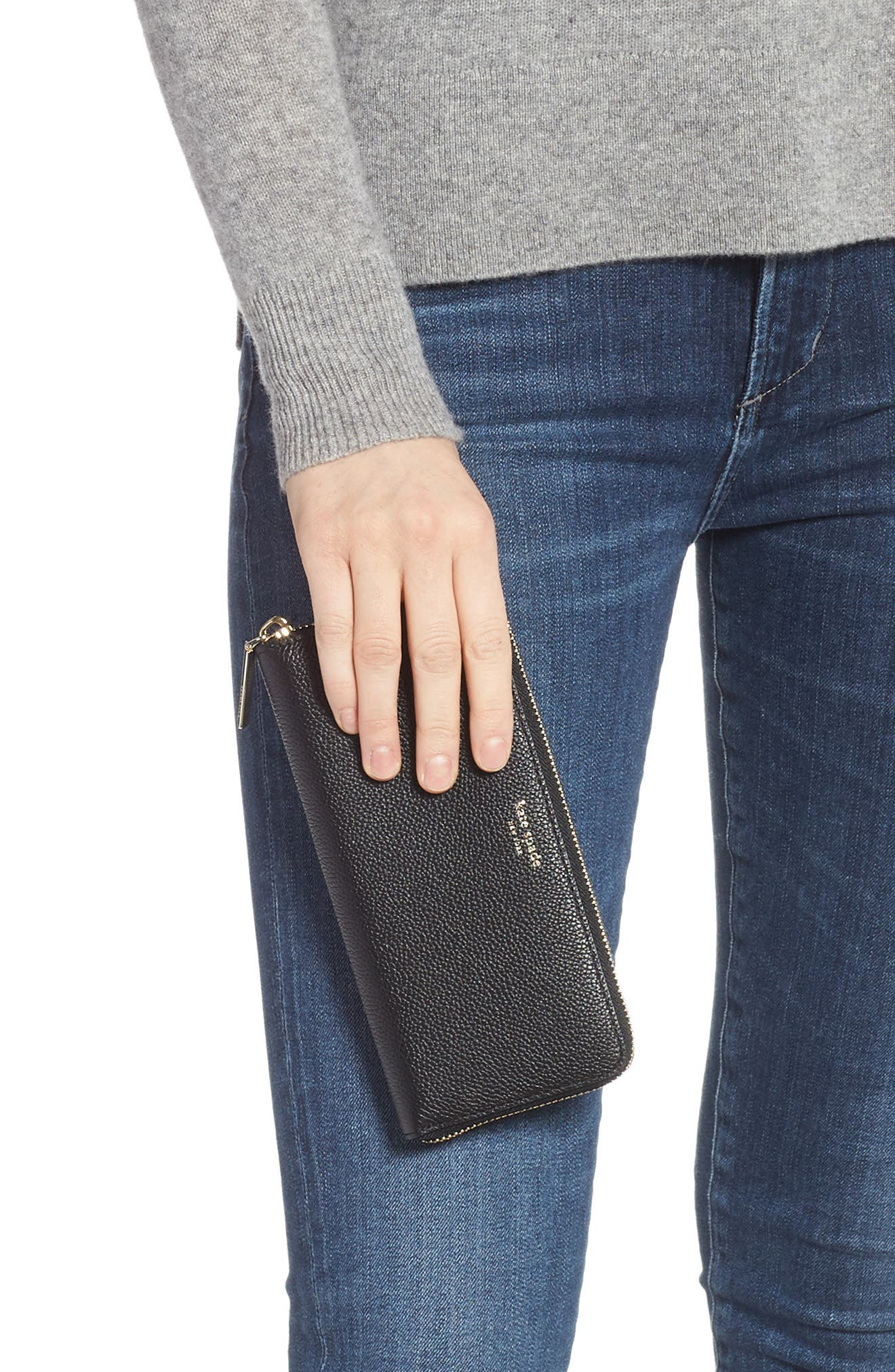 margaux leather continental wallet,                             Alternate thumbnail 2, color,                             BLACK