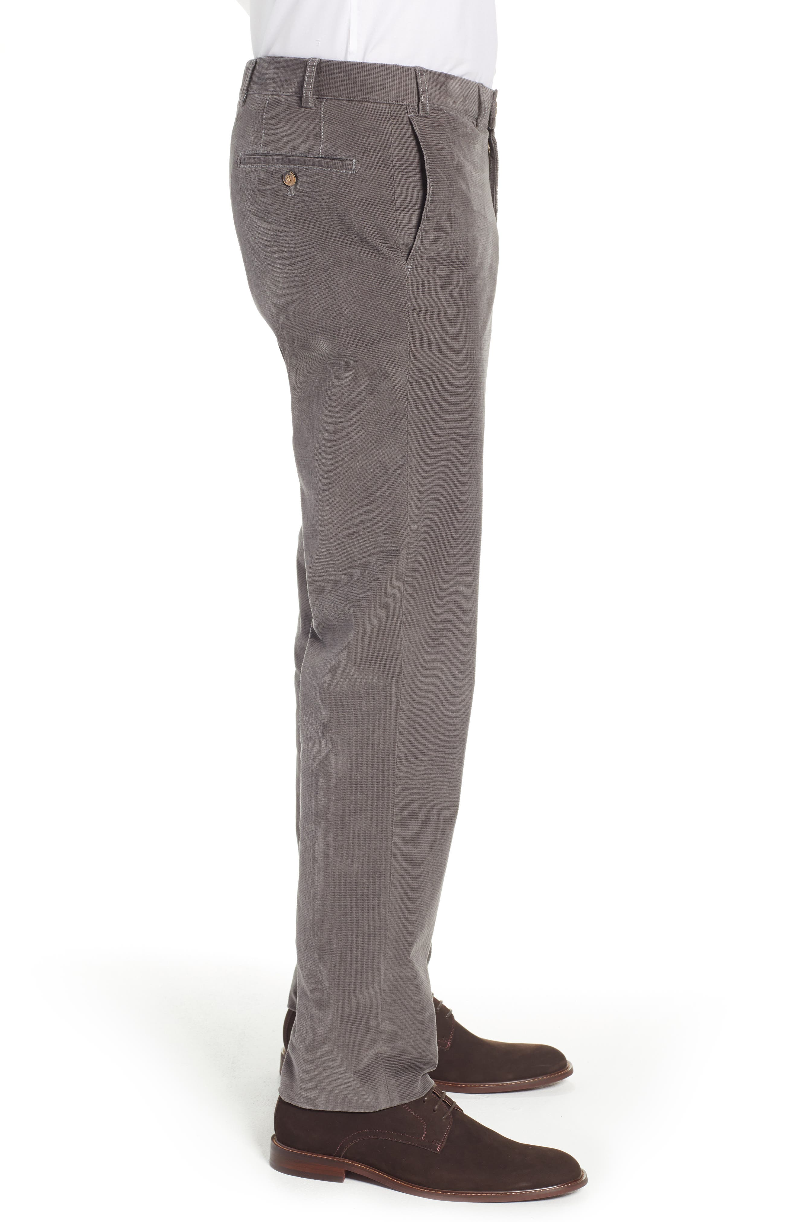 Pero Trim Fit Stretch Flat Front Trousers,                             Alternate thumbnail 3, color,                             TAUPE