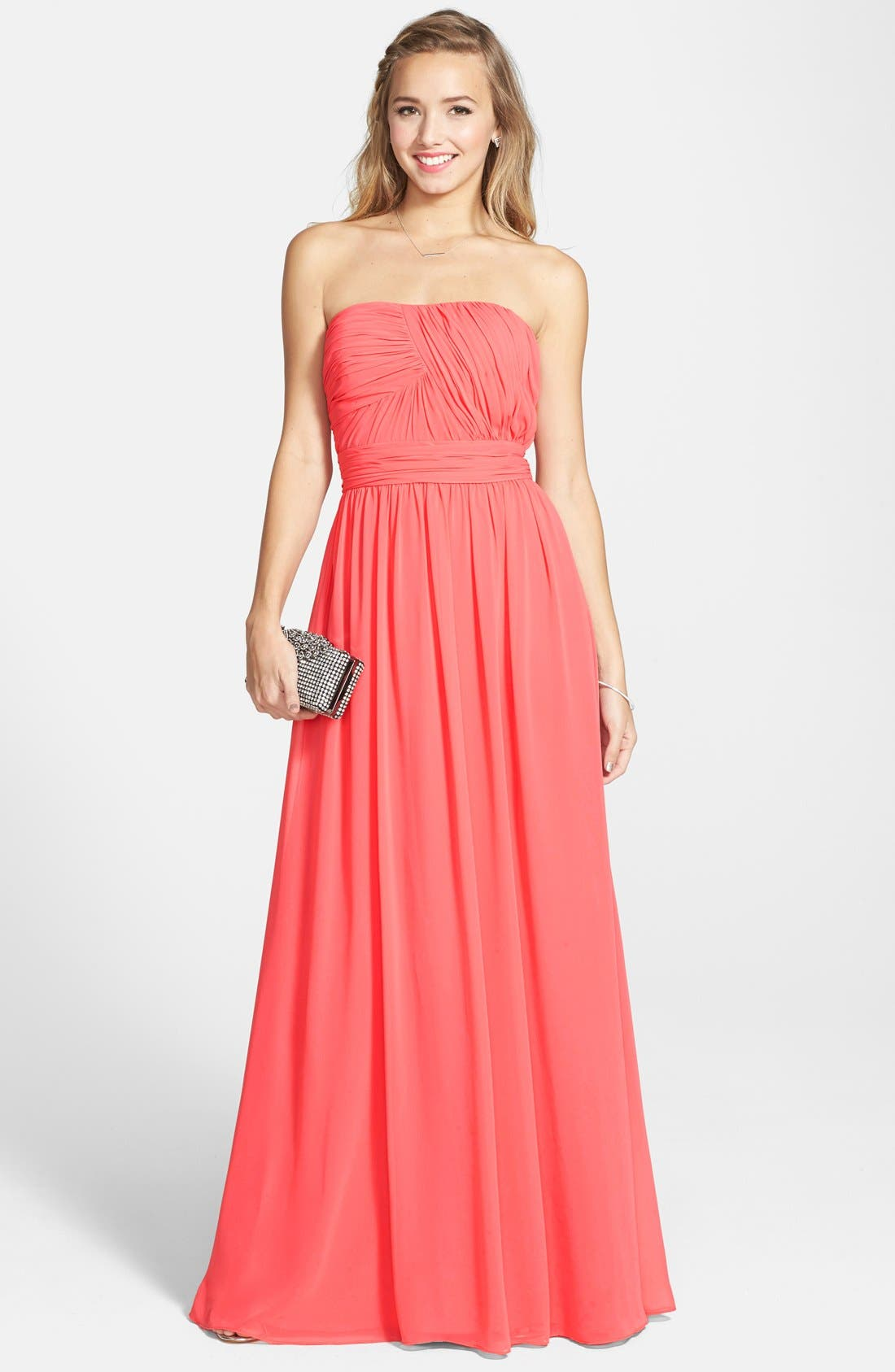 HAILEY BY ADRIANNA PAPELL Shirred Chiffon Strapless Gown, Main, color, 650