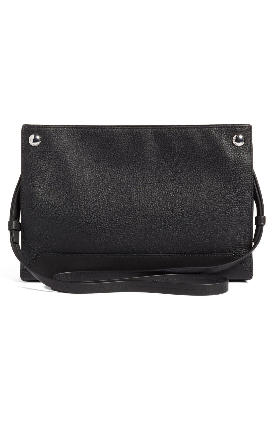 Compass Leather Crossbody Bag,                             Alternate thumbnail 4, color,                             BLACK