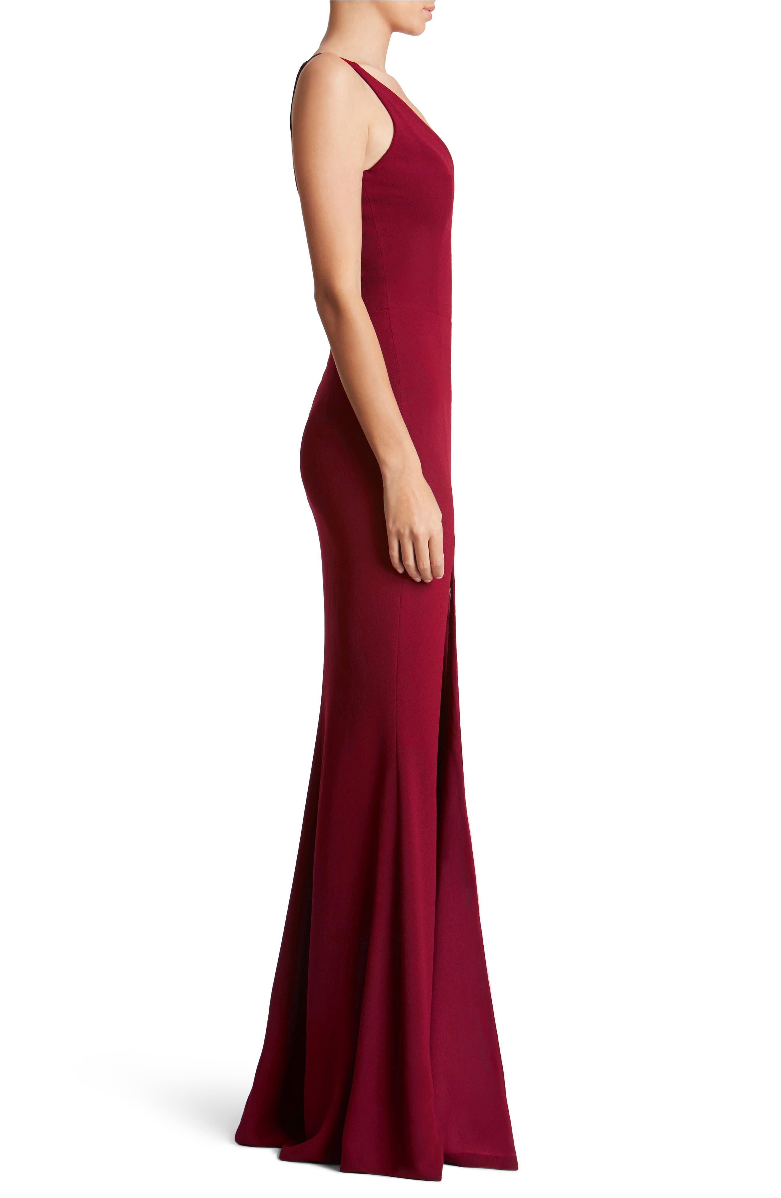 Iris Slit Crepe Gown,                             Alternate thumbnail 3, color,                             619