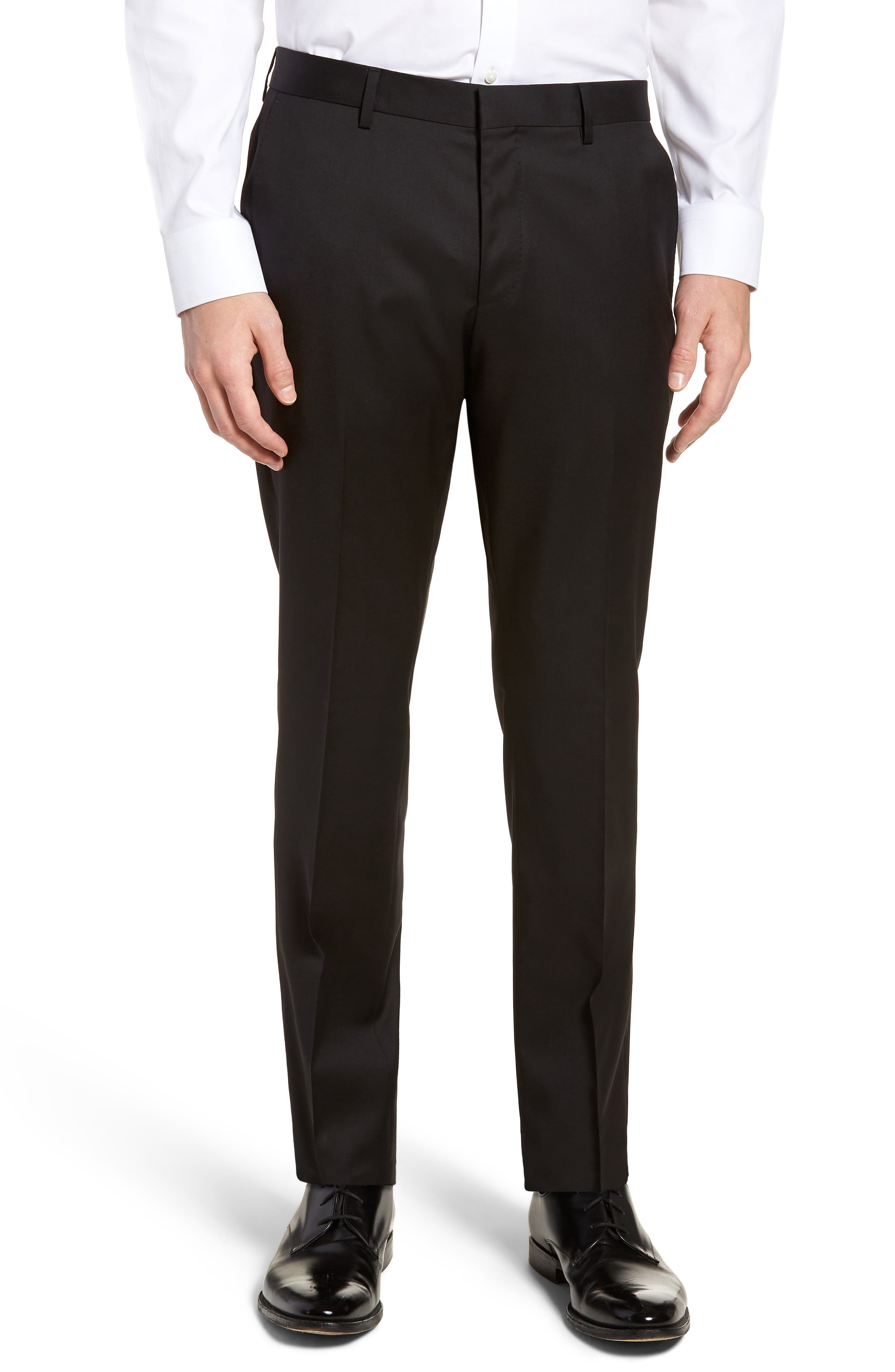 BOSS,                             Gibson CYL Flat Front Solid Wool Trousers,                             Main thumbnail 1, color,                             BLACK