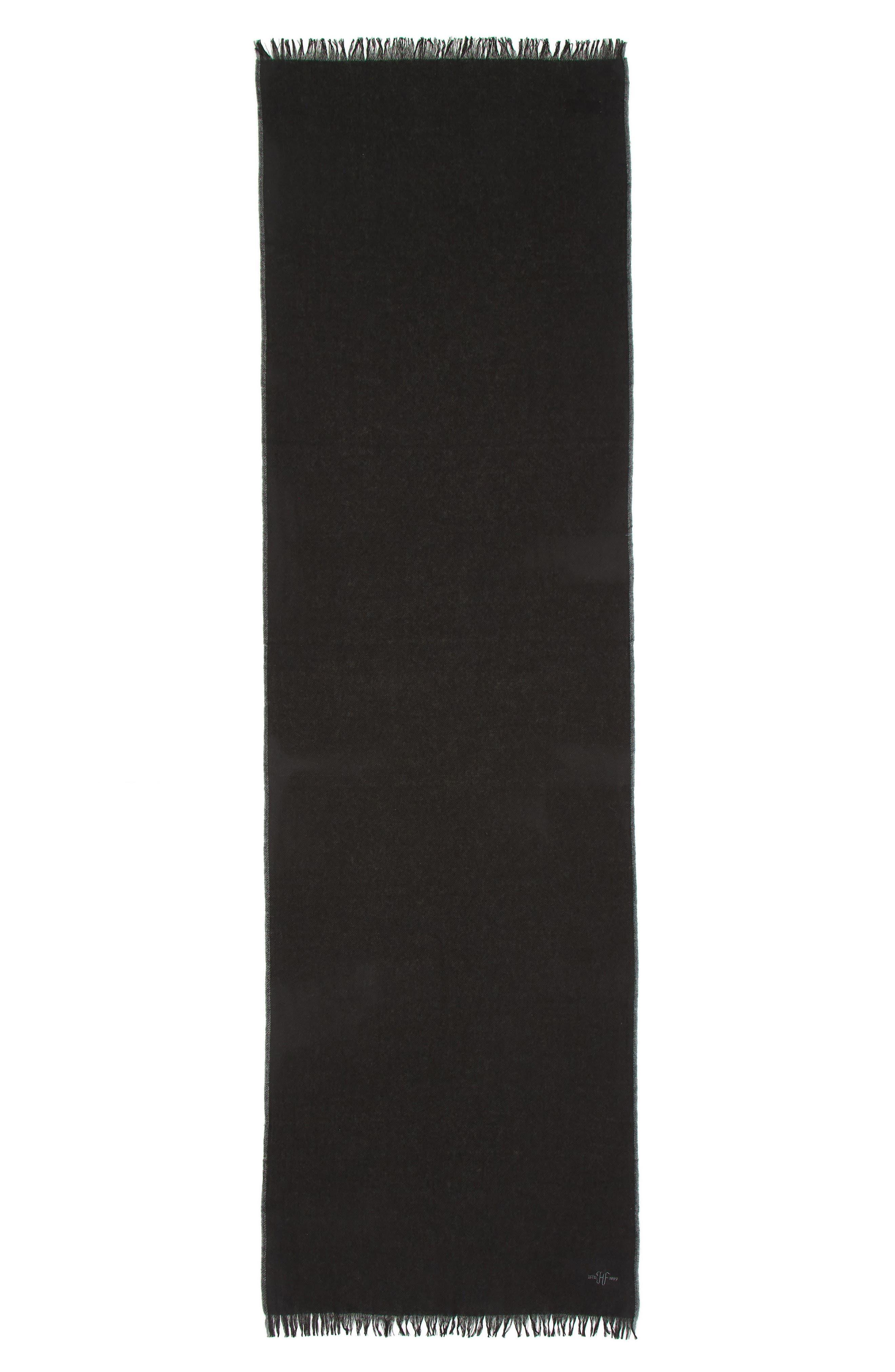 Cashmere Scarf,                             Alternate thumbnail 2, color,                             BLACK/ GREY