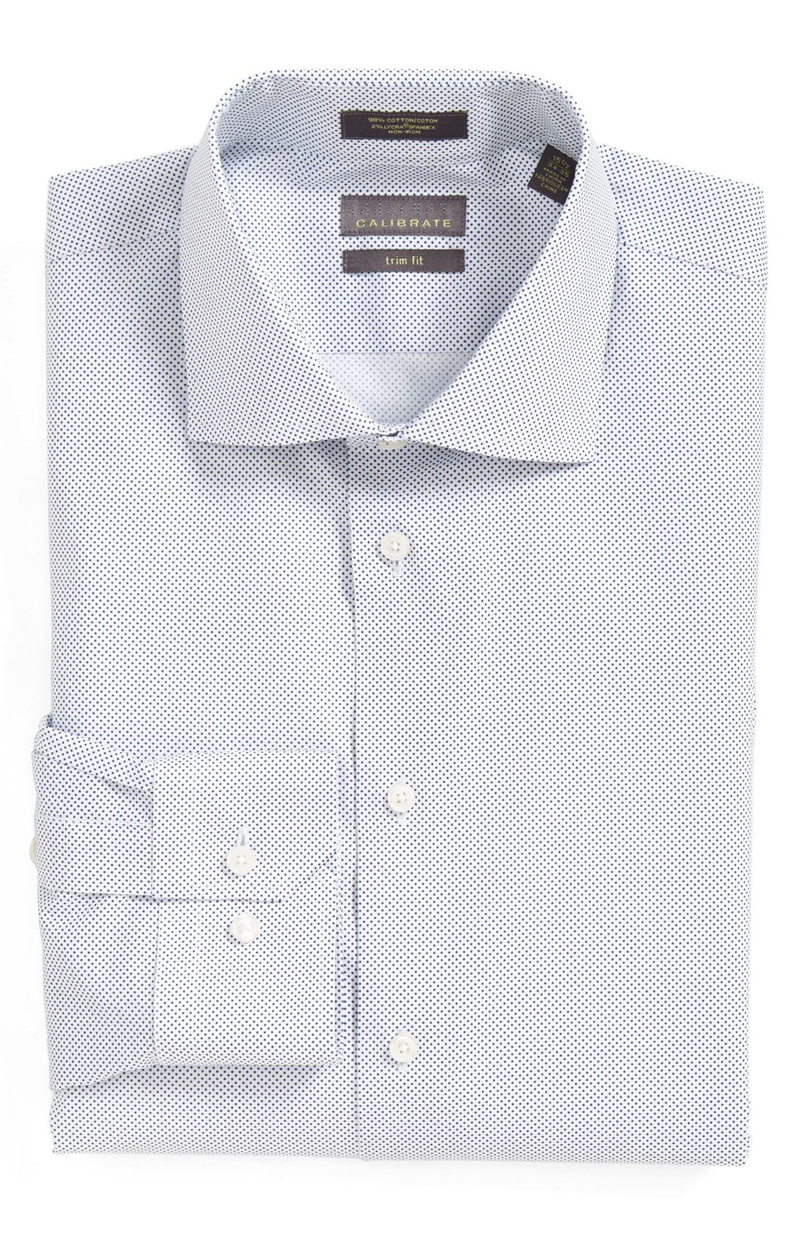 Calibrate Trim Fit Dot Dress Shirt Nordstrom