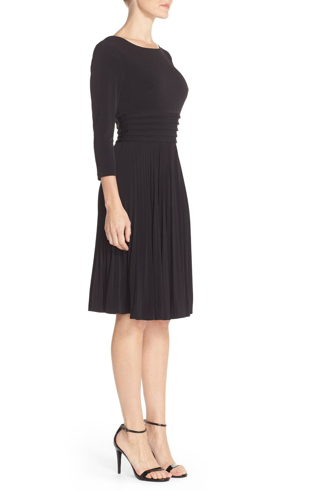 Pleated Jersey Fit & Flare Dress,                             Alternate thumbnail 3, color,                             001