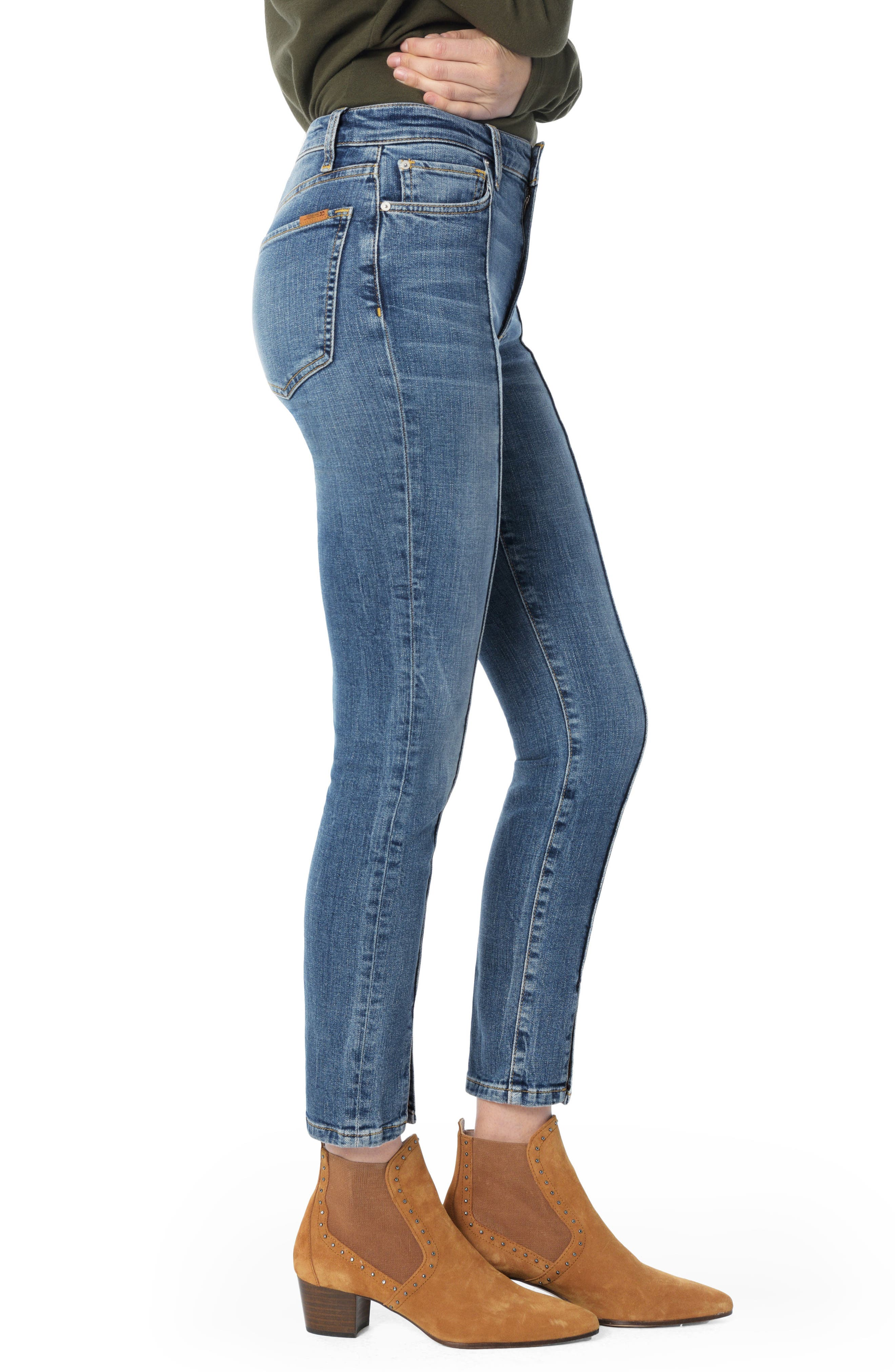 Charlie Pintuck High Waist Ankle Skinny Jeans,                             Alternate thumbnail 3, color,                             SILVIA