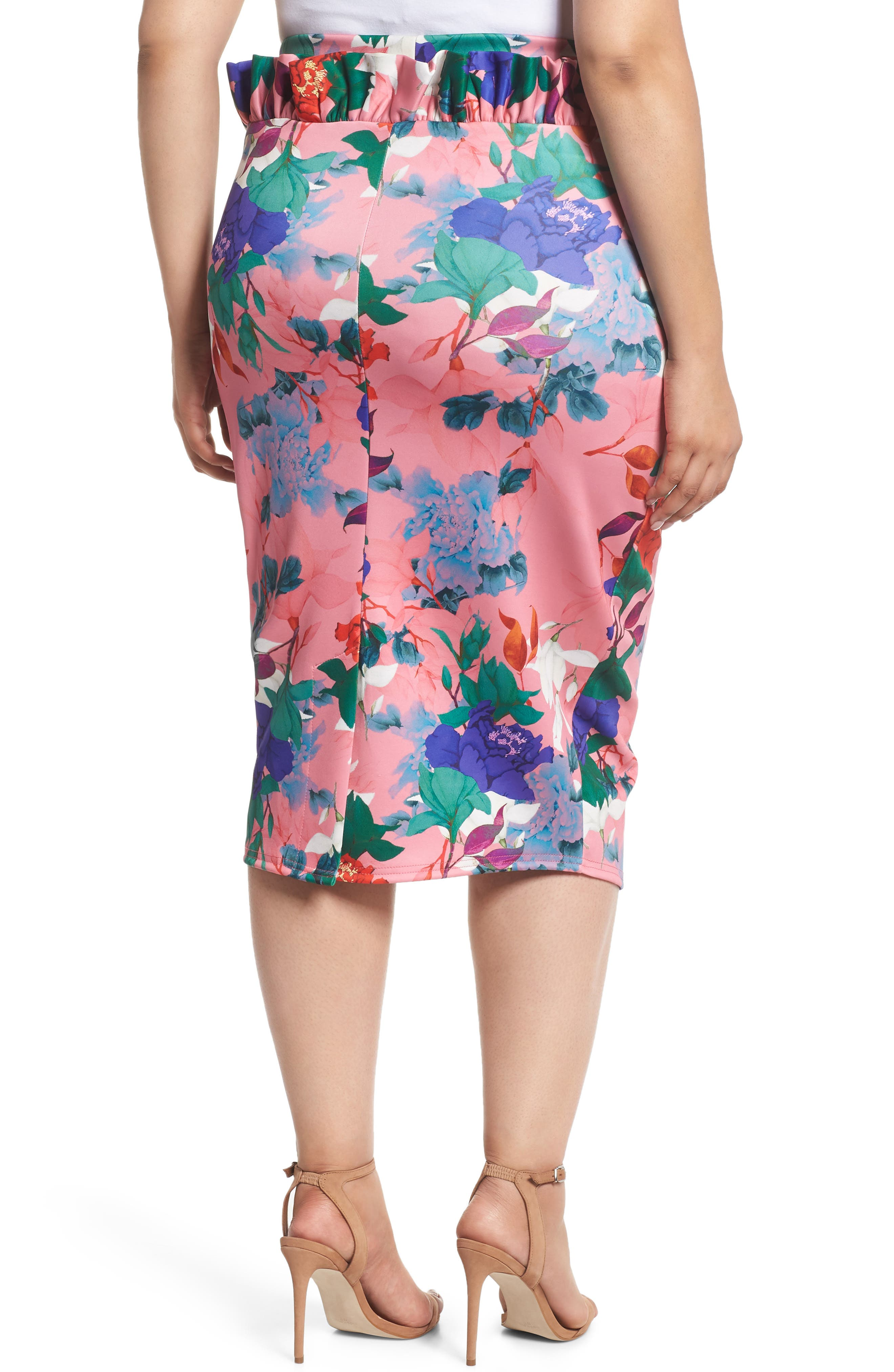 LOST INK,                             Floral Ruffle Pencil Skirt,                             Alternate thumbnail 2, color,                             658