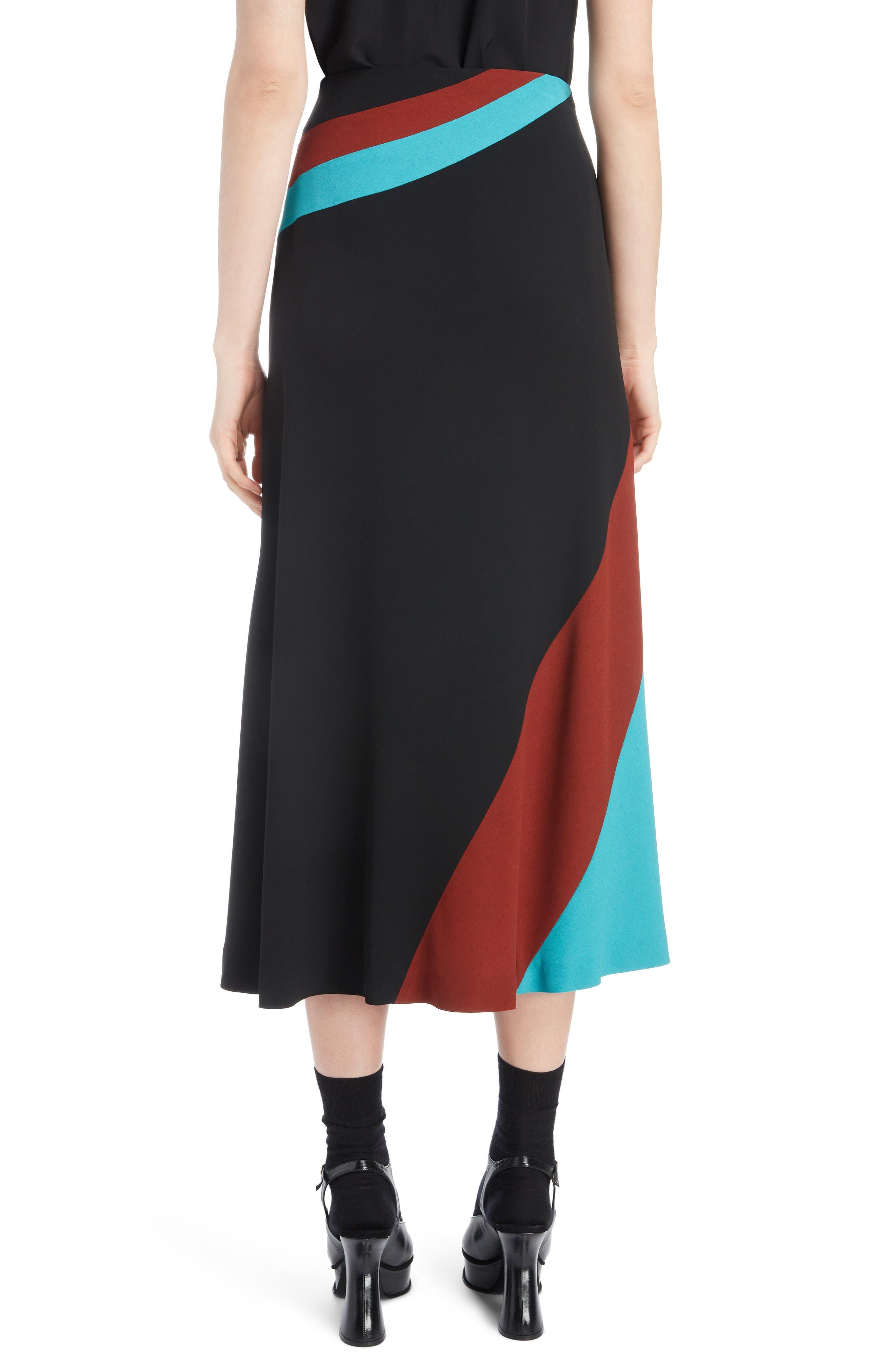 Curved Inset Midi Skirt,                             Alternate thumbnail 2, color,                             BLACK