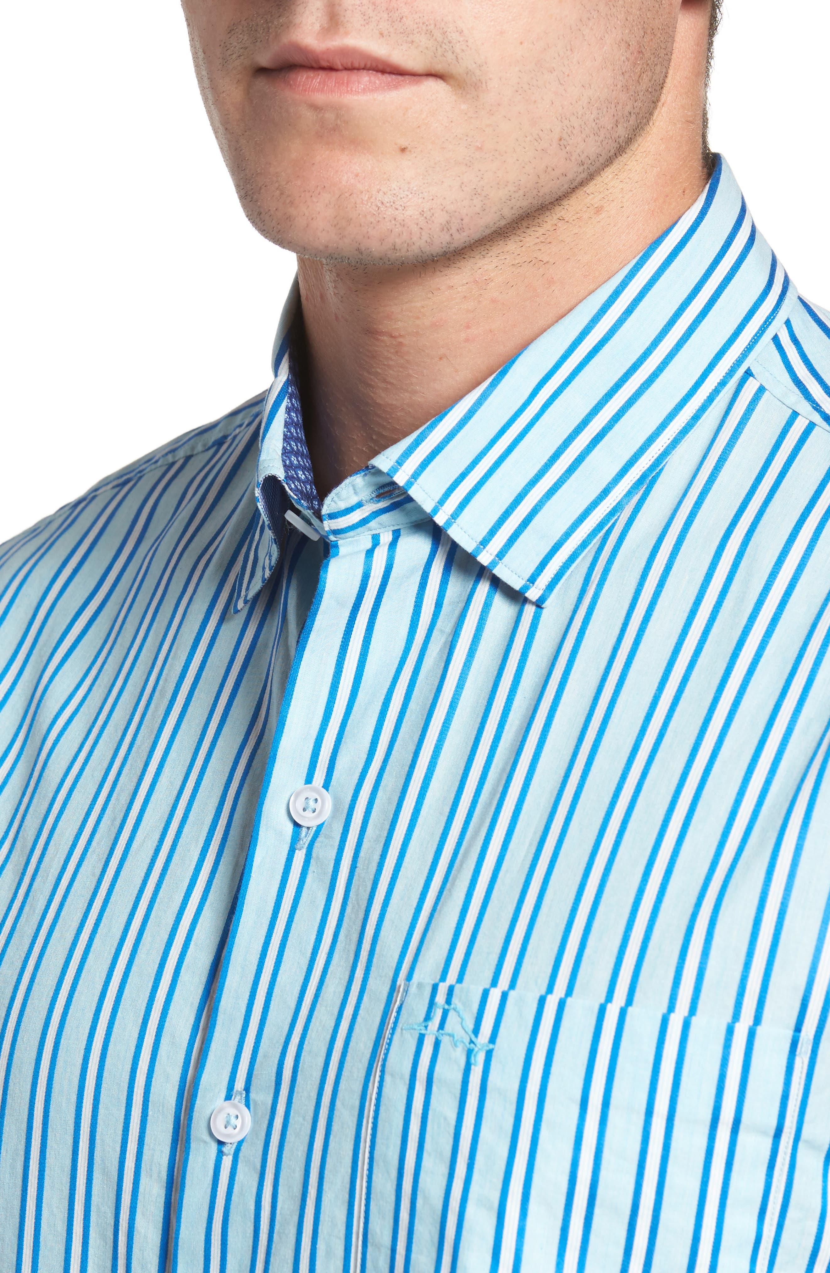 Surf the Line Stripe Sport Shirt,                             Alternate thumbnail 4, color,                             400