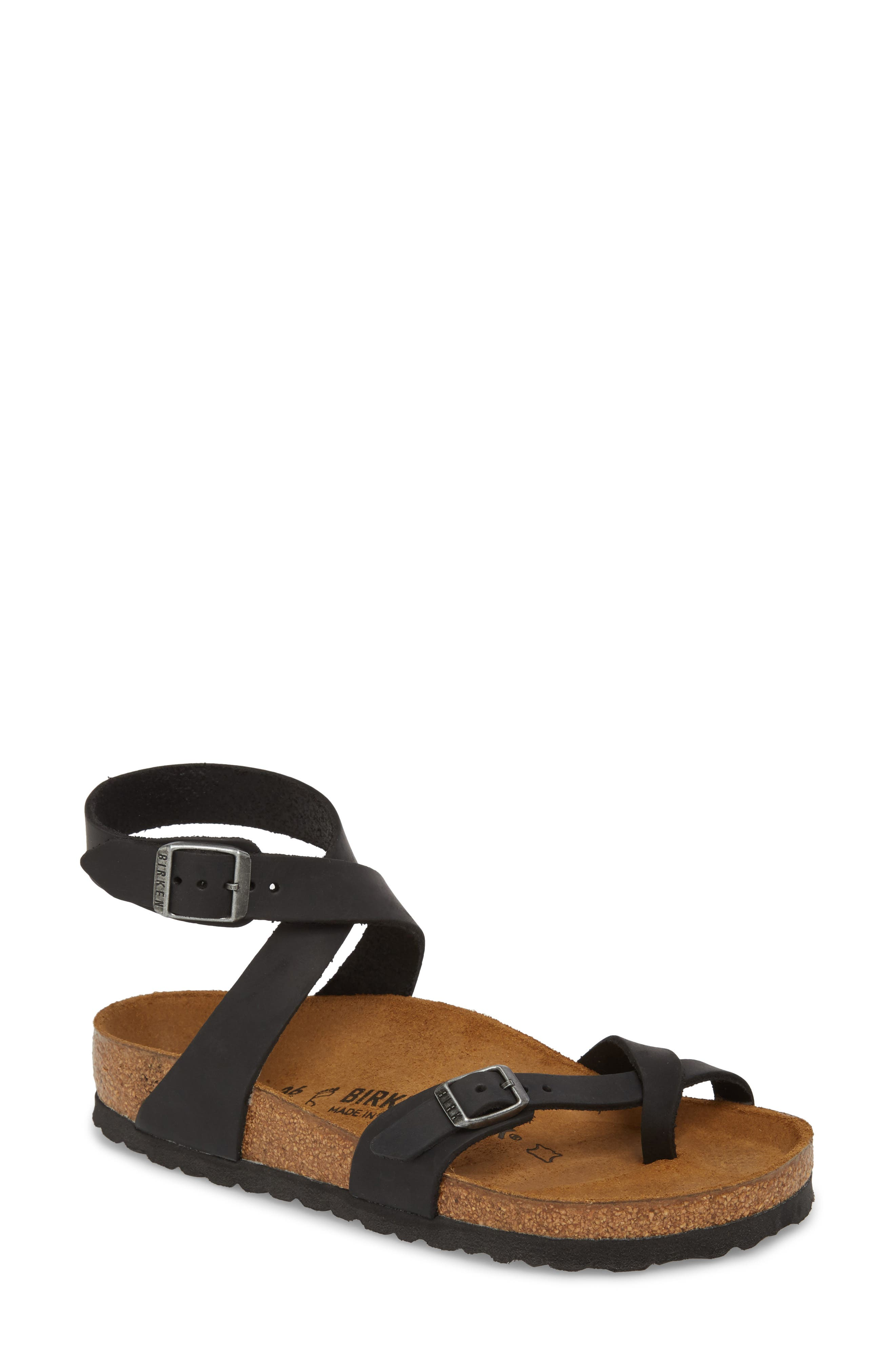 'Yara' Sandal,                             Main thumbnail 1, color,                             BLACK OILED LEATHER