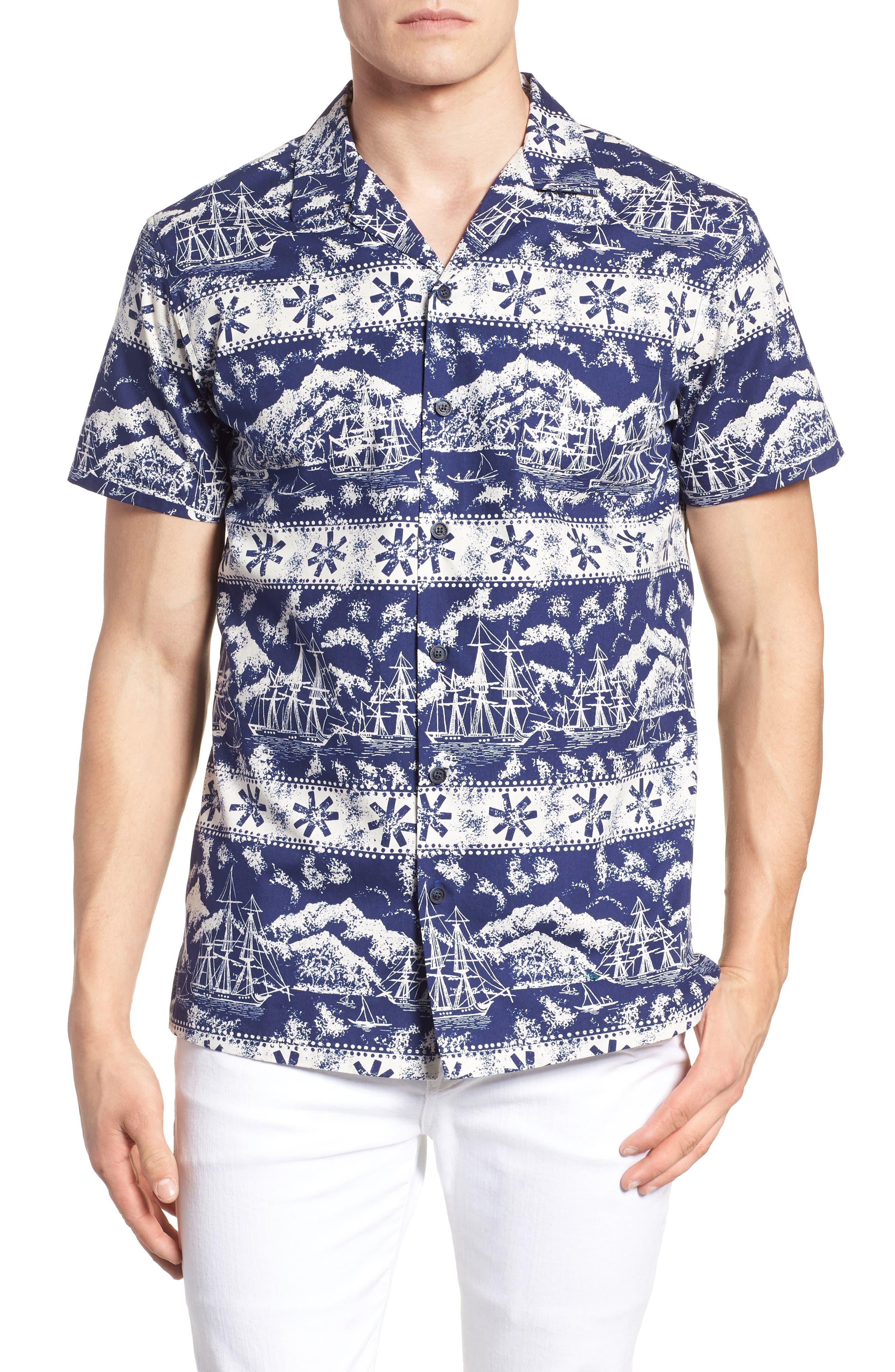 Safe Harbor Slim Fit Camp Shirt,                         Main,                         color, 415
