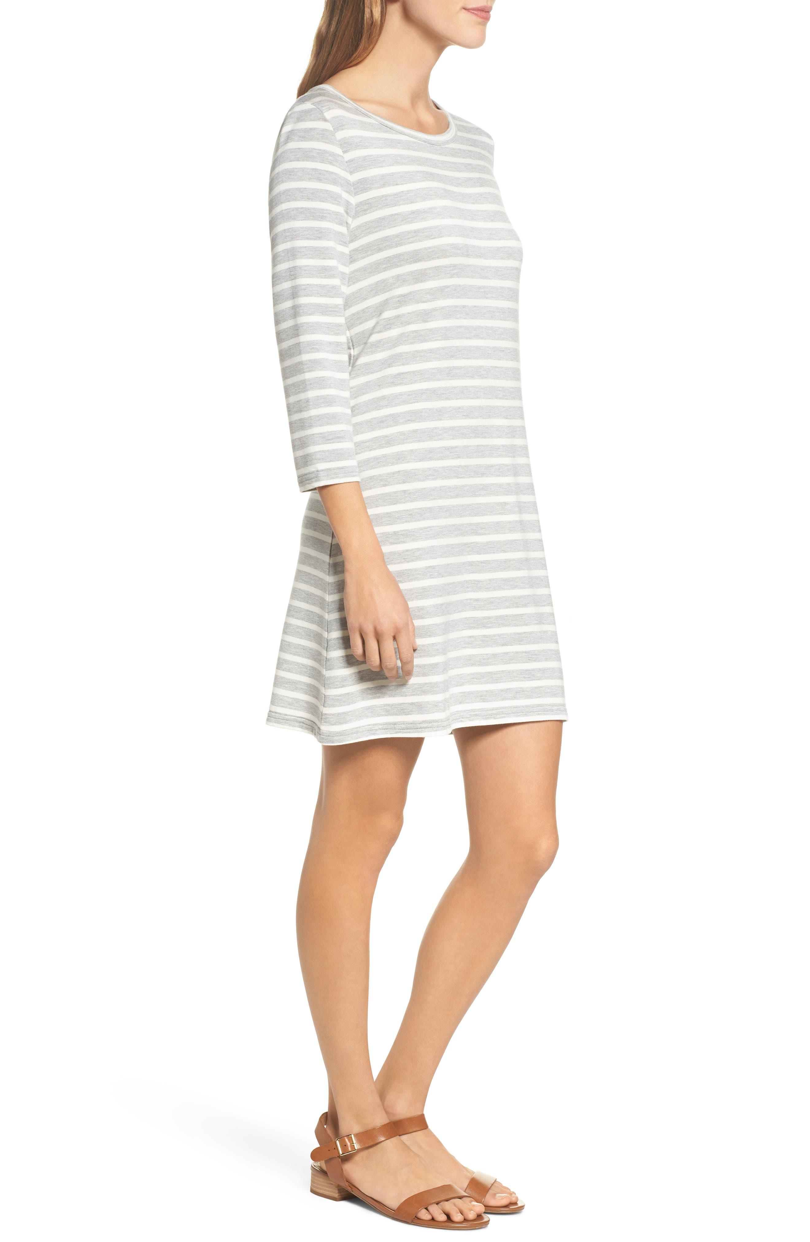 Adelene Stripe Knit Shift Dress,                             Alternate thumbnail 3, color,                             050