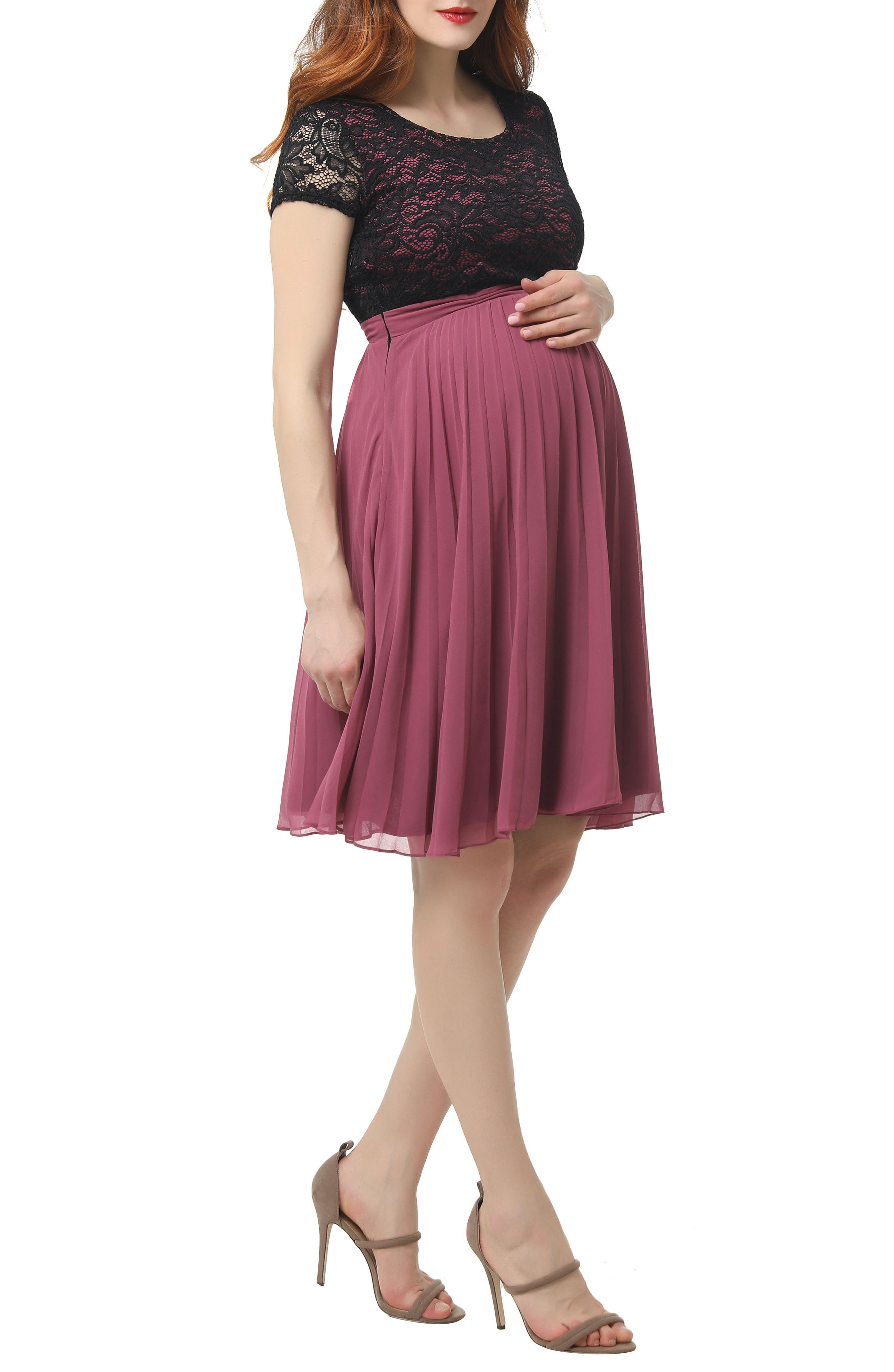 Tanya Maternity Babydoll Dress,                             Alternate thumbnail 3, color,                             ROSE