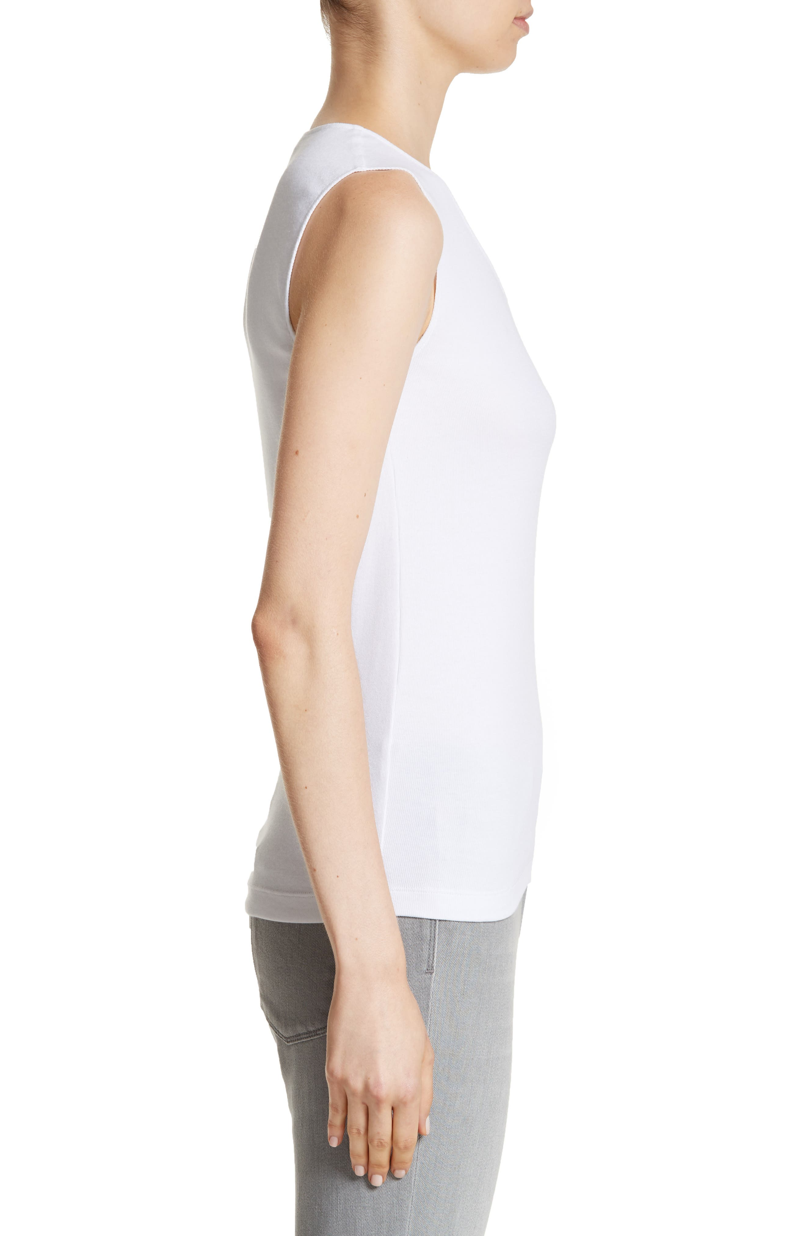 Beaded Ribbed Cotton Blend Jersey Tank,                             Alternate thumbnail 3, color,                             100