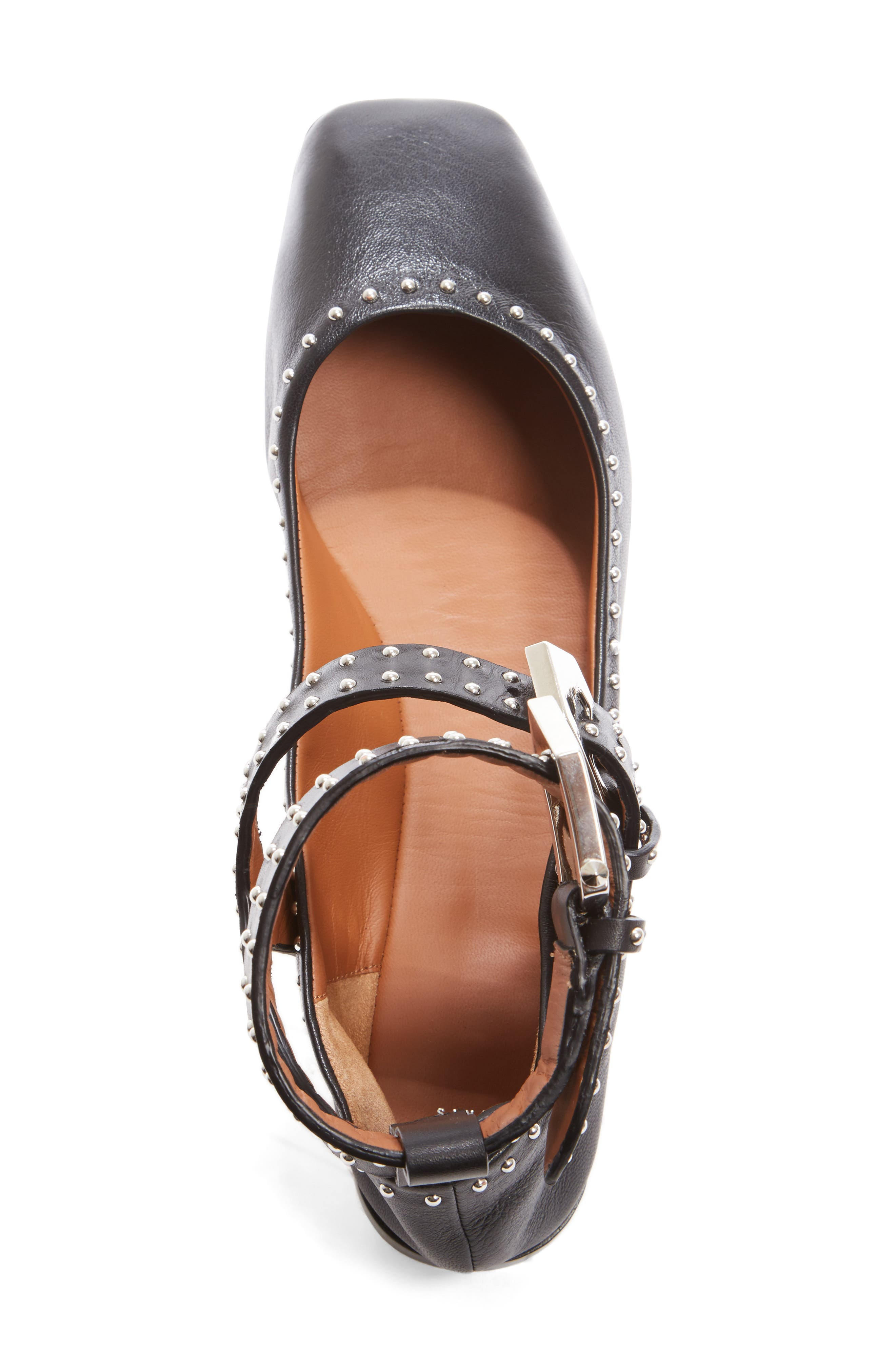 Studded Ankle Strap Flat,                             Alternate thumbnail 3, color,