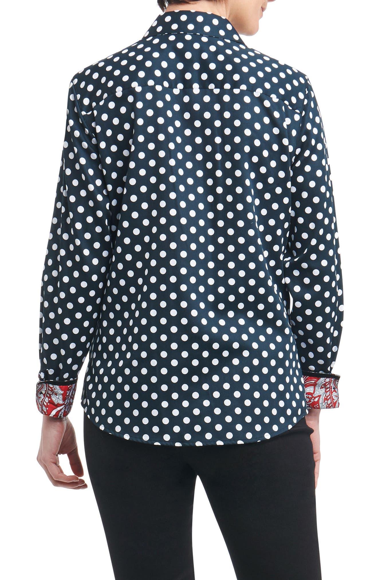 Ava Dot Paisley Trim Shirt,                             Alternate thumbnail 2, color,                             001