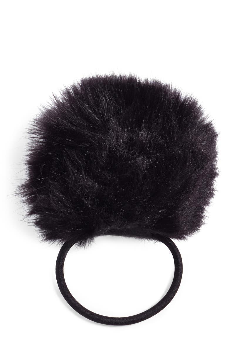 80f67fc6aea Cara Faux Fur Pompom Ponytail Holder