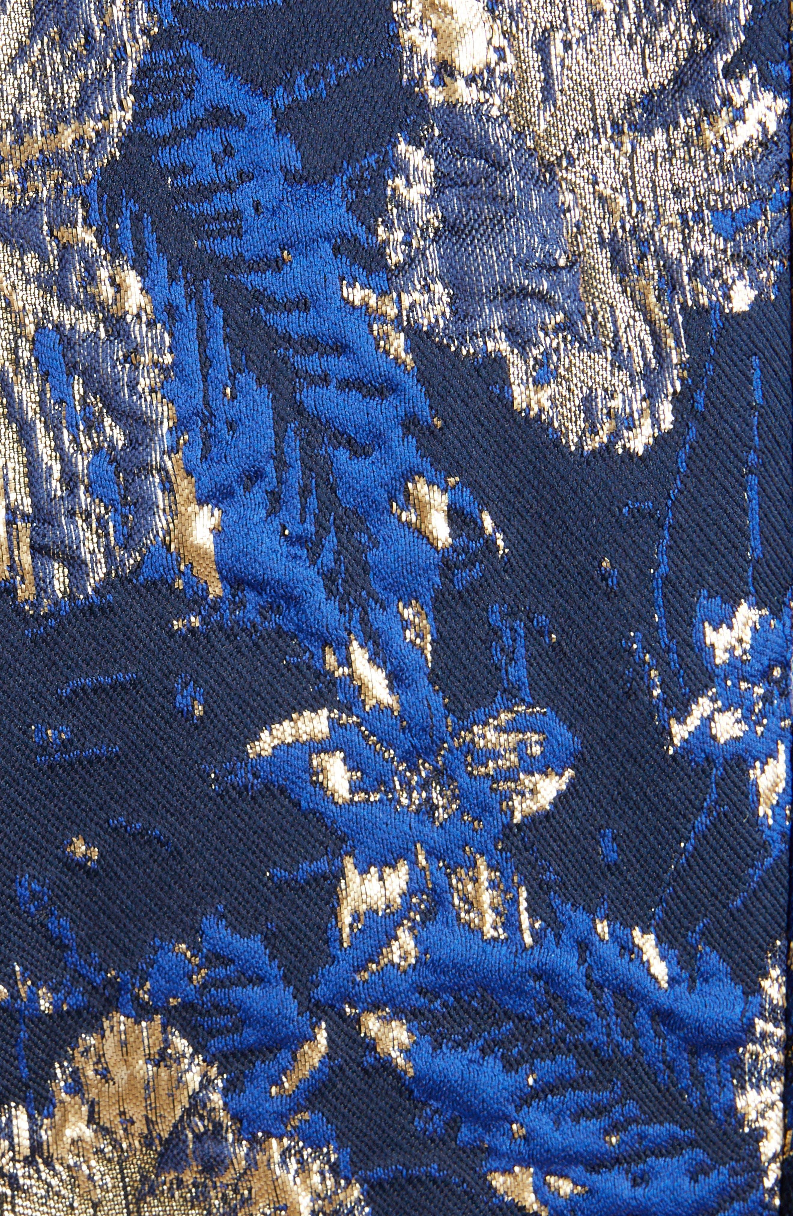 Metallic Floral Jacquard Blazer,                             Alternate thumbnail 5, color,                             BLUE