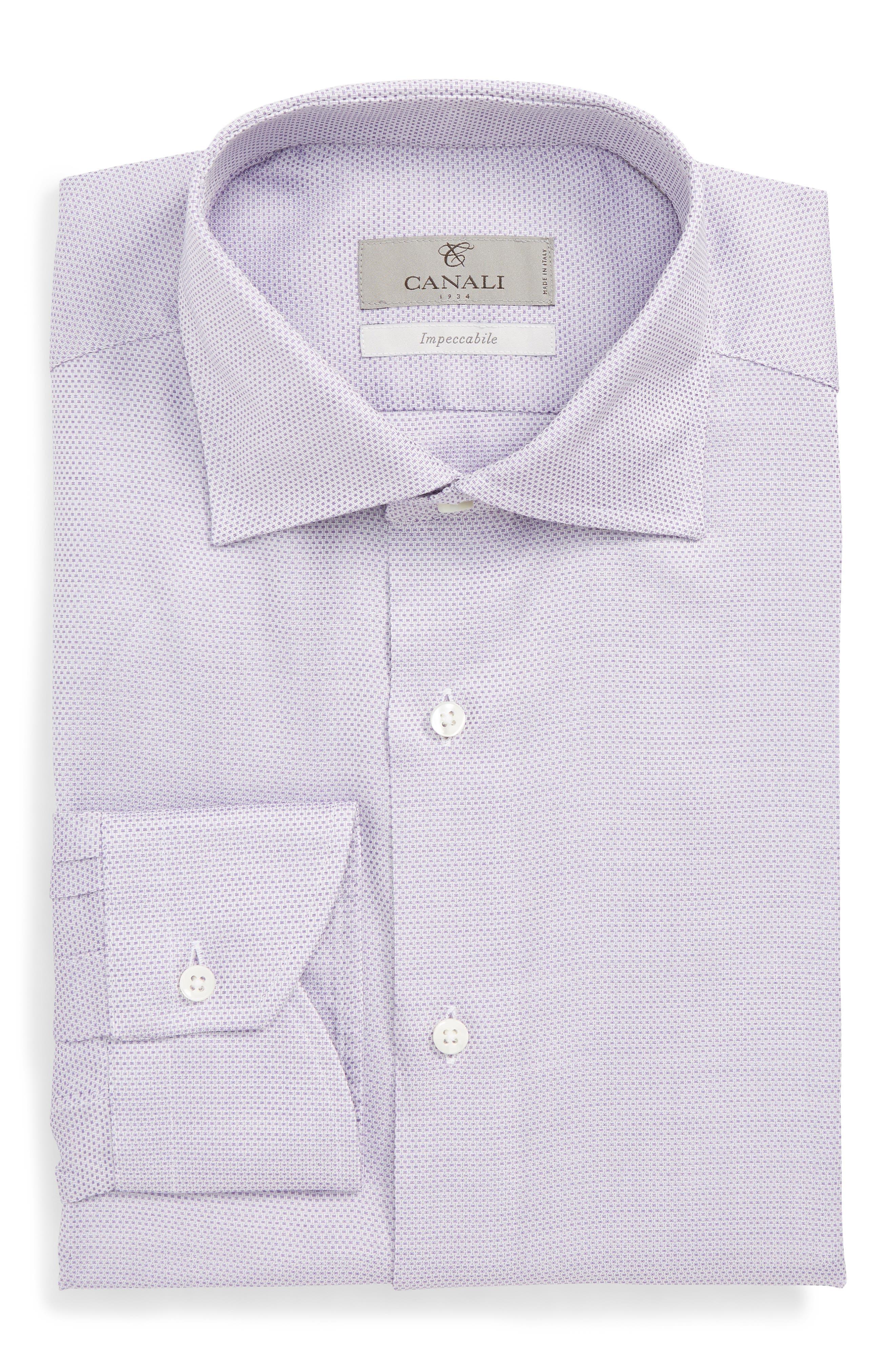 Trim Fit Dress Shirt,                             Alternate thumbnail 6, color,                             LIGHT PURPLE