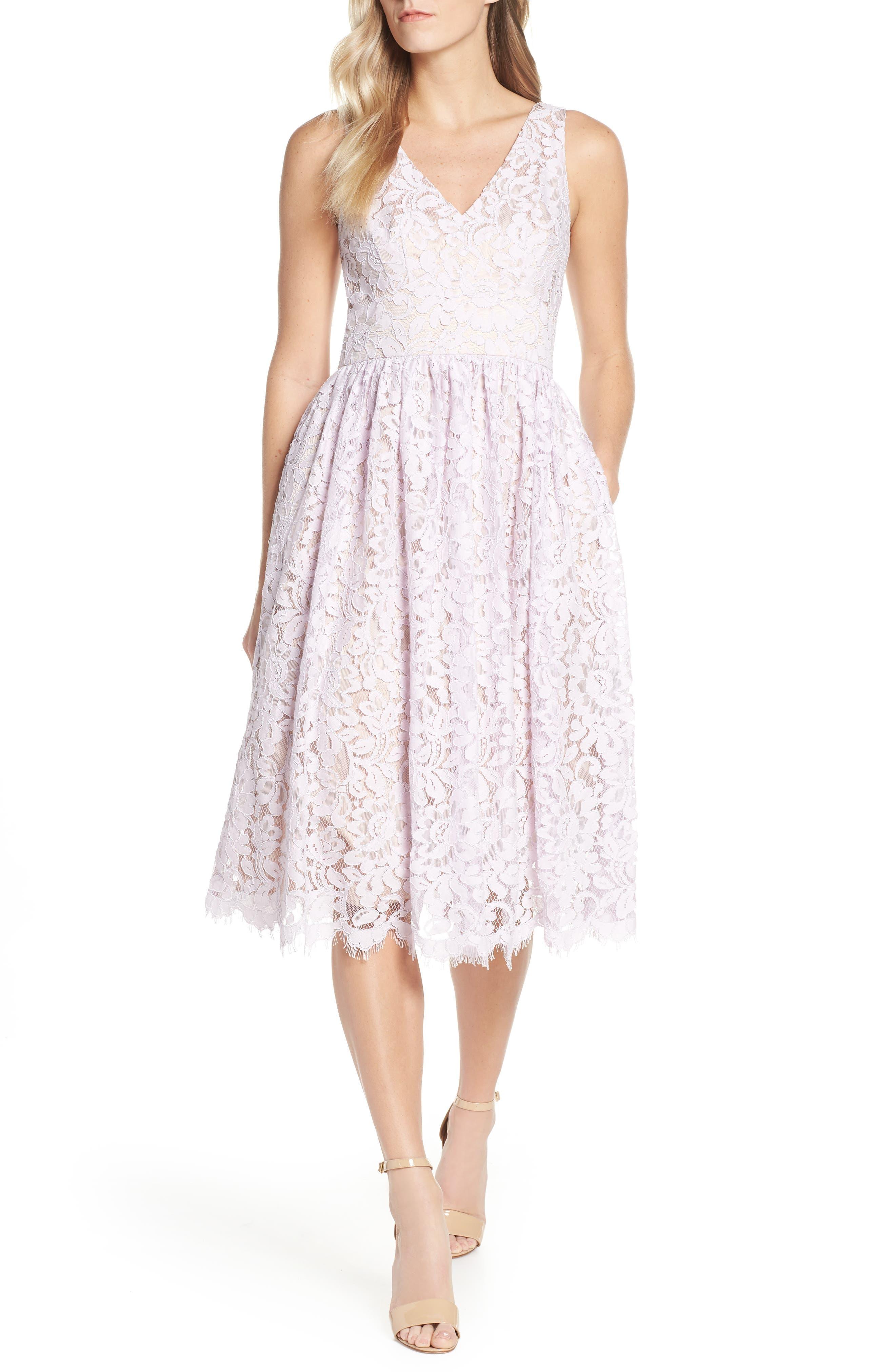 Eliza J Floral Lace Dress, Purple