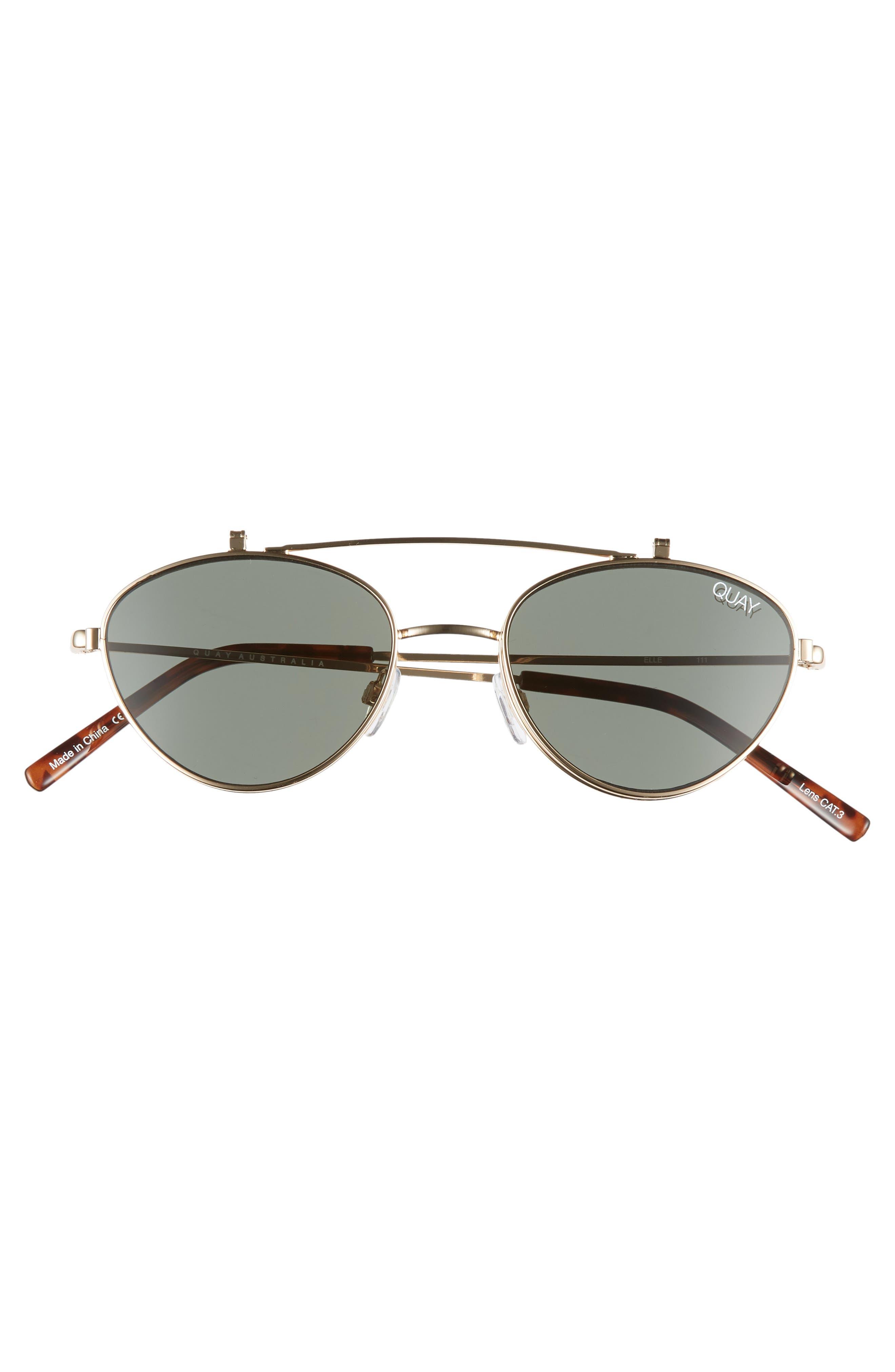 x Elle Ferguson Elle 59mm Round Sunglasses,                             Alternate thumbnail 3, color,                             GOLD/ GREEN