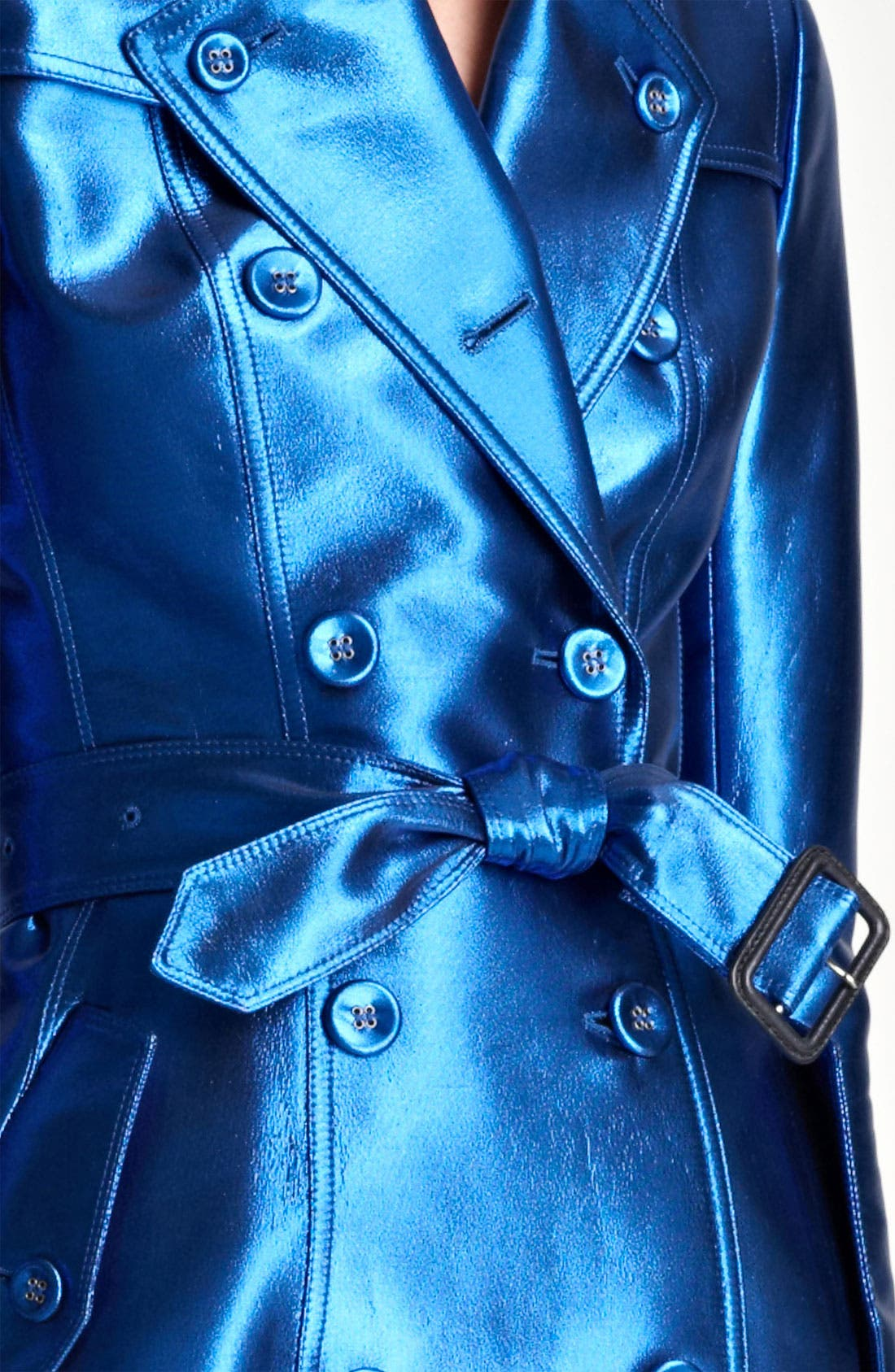 BURBERRY PRORSUM,                             Belted Metallic Trench Coat,                             Alternate thumbnail 3, color,                             430