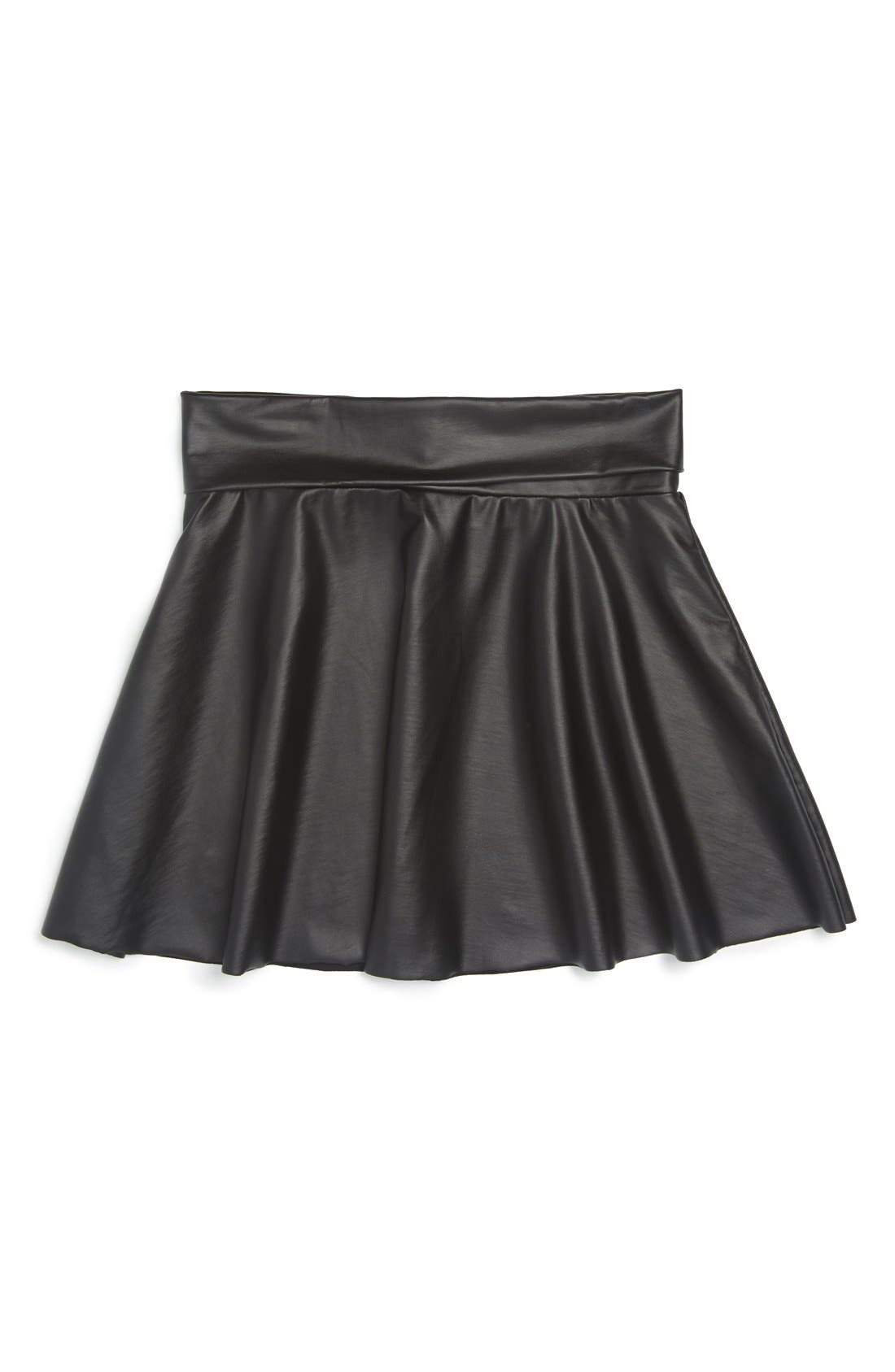Flowers by Zoe Faux Leather Skater Skirt, Main, color, 001