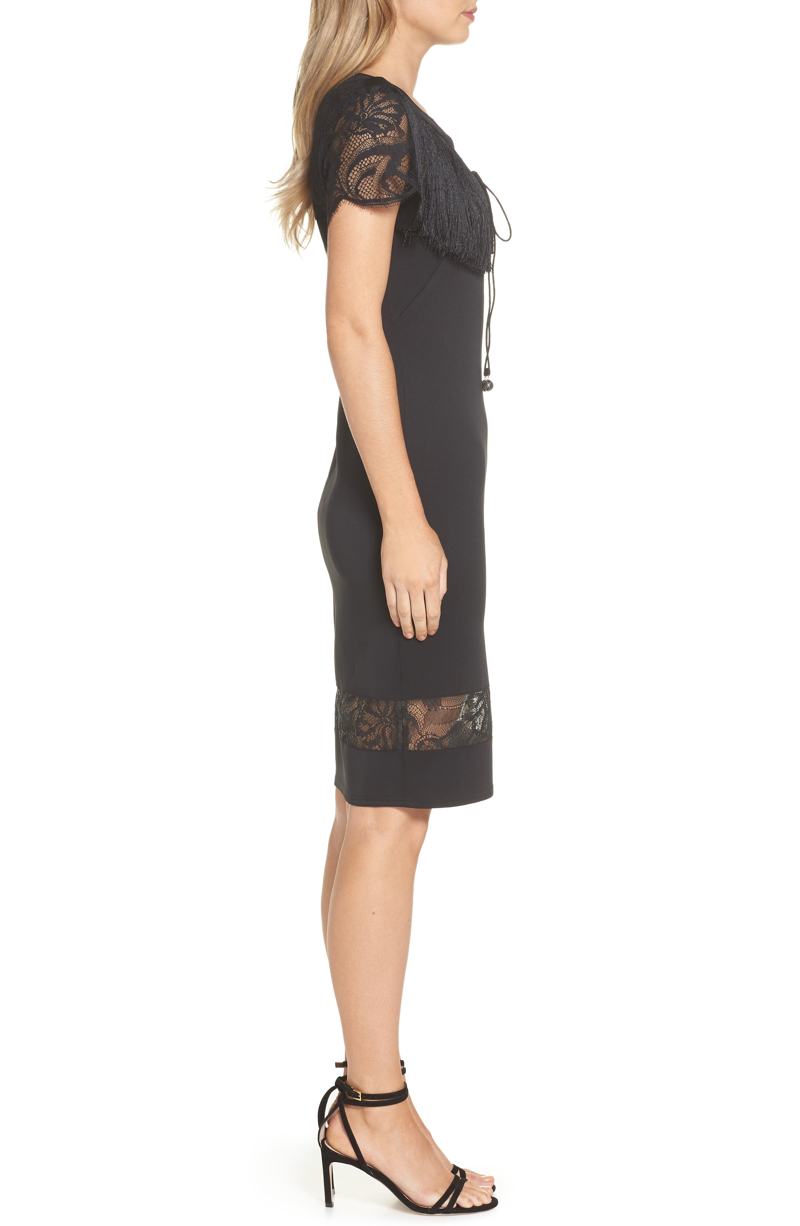 Lace & Fringe Cocktail Dress,                             Alternate thumbnail 3, color,                             BLACK