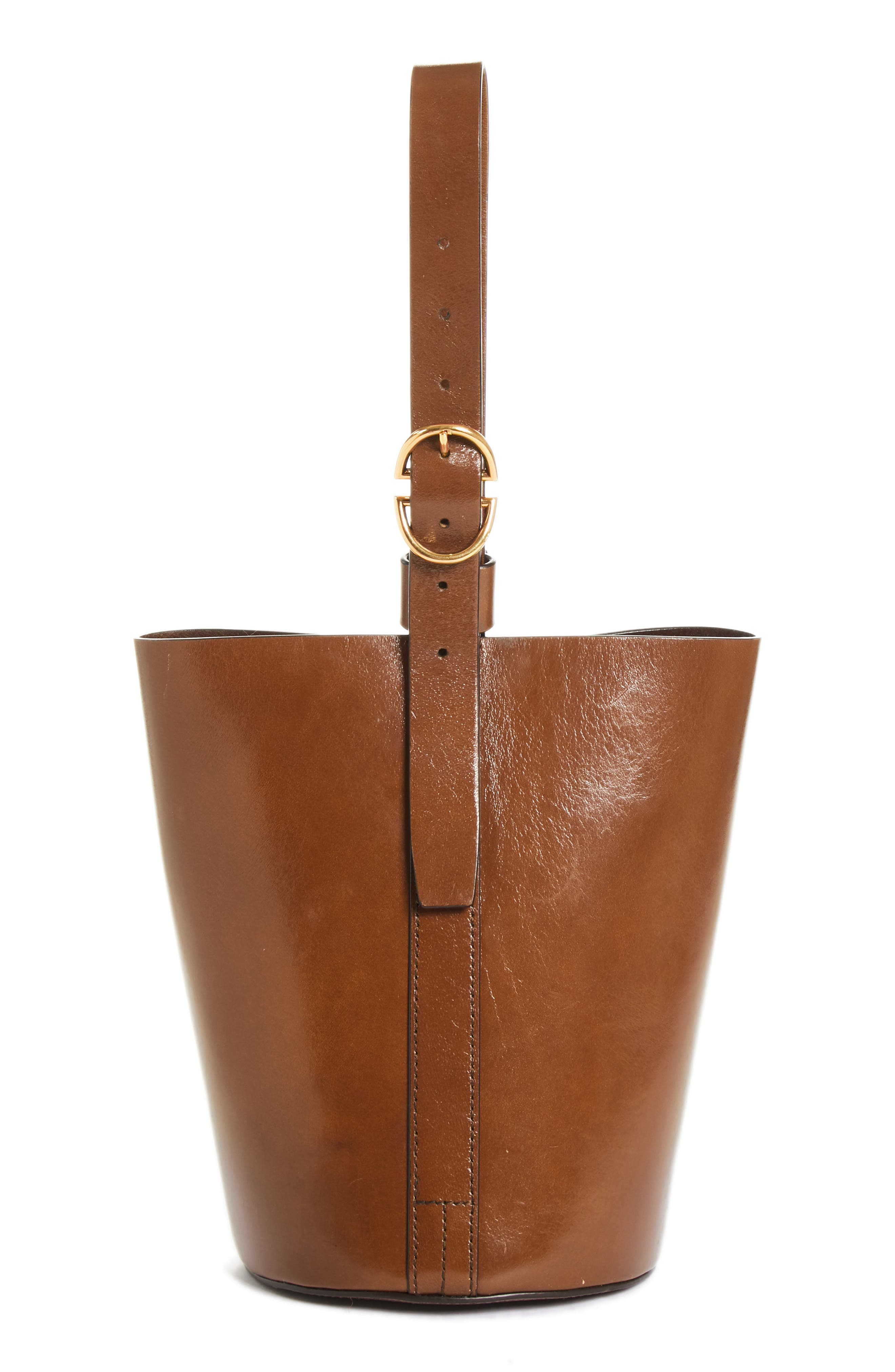 TRADEMARK,                             Small Leather Bucket Bag,                             Main thumbnail 1, color,                             201