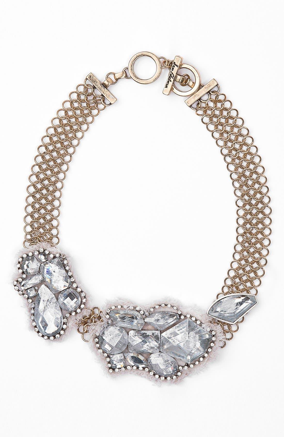 Burlap & Crystal Mesh Collar Necklace, Main, color, 710