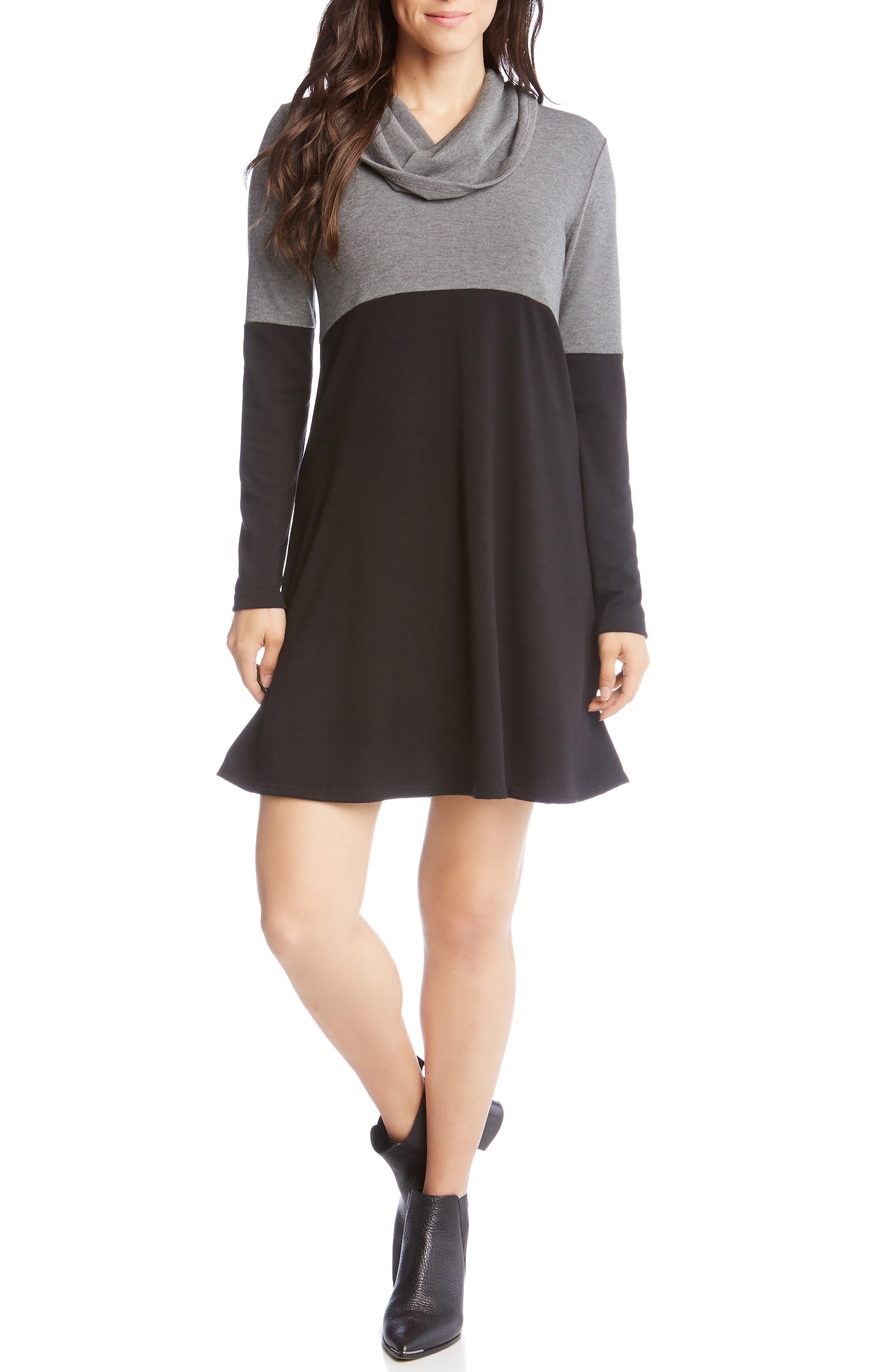 Karen Kane Cowl Neck Colorblock Dress, Black