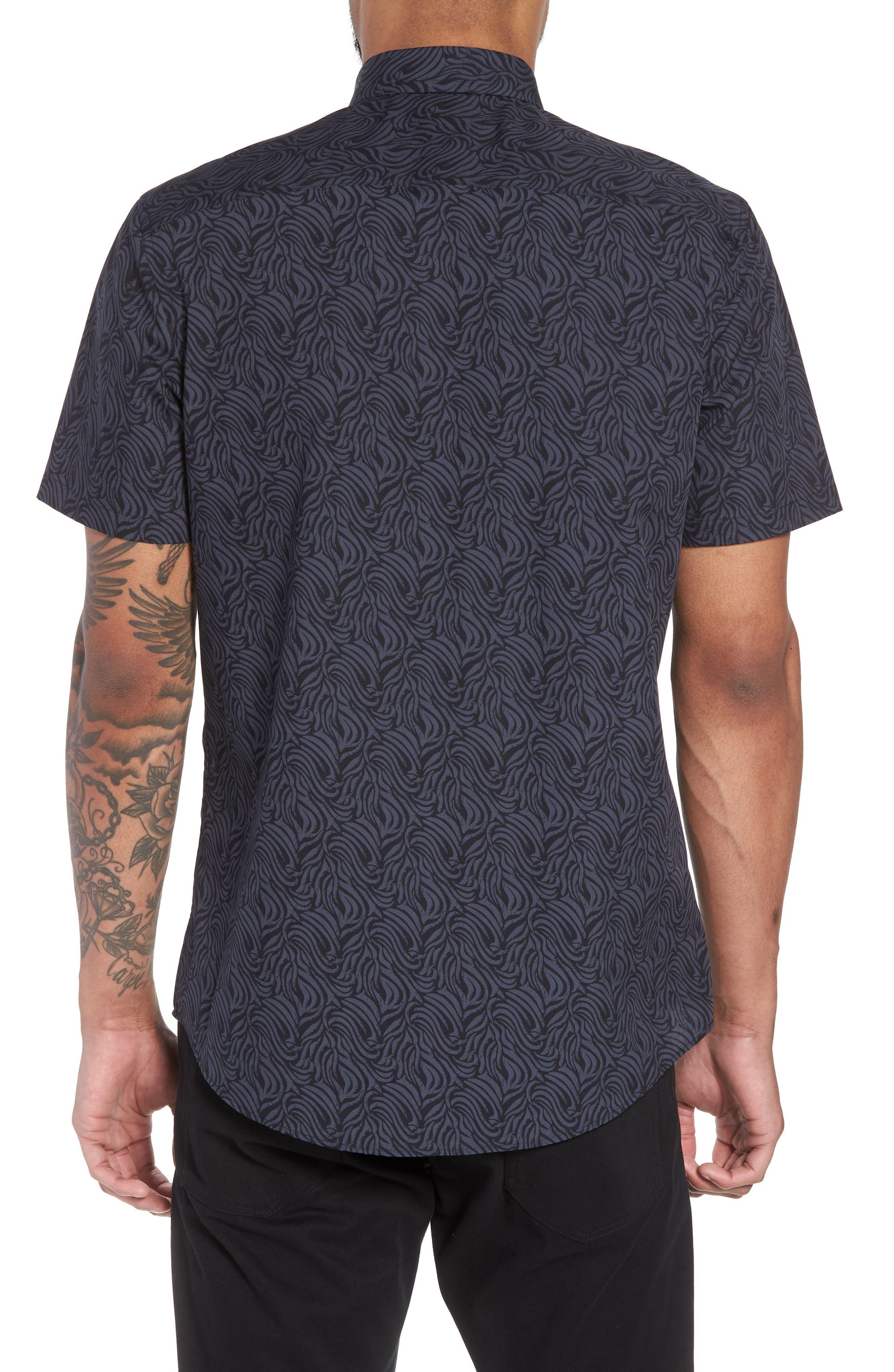 Trim Fit Print Welt Pocket Sport Shirt,                             Alternate thumbnail 2, color,                             NAVY BLUE BLACK BRUSH STROKE