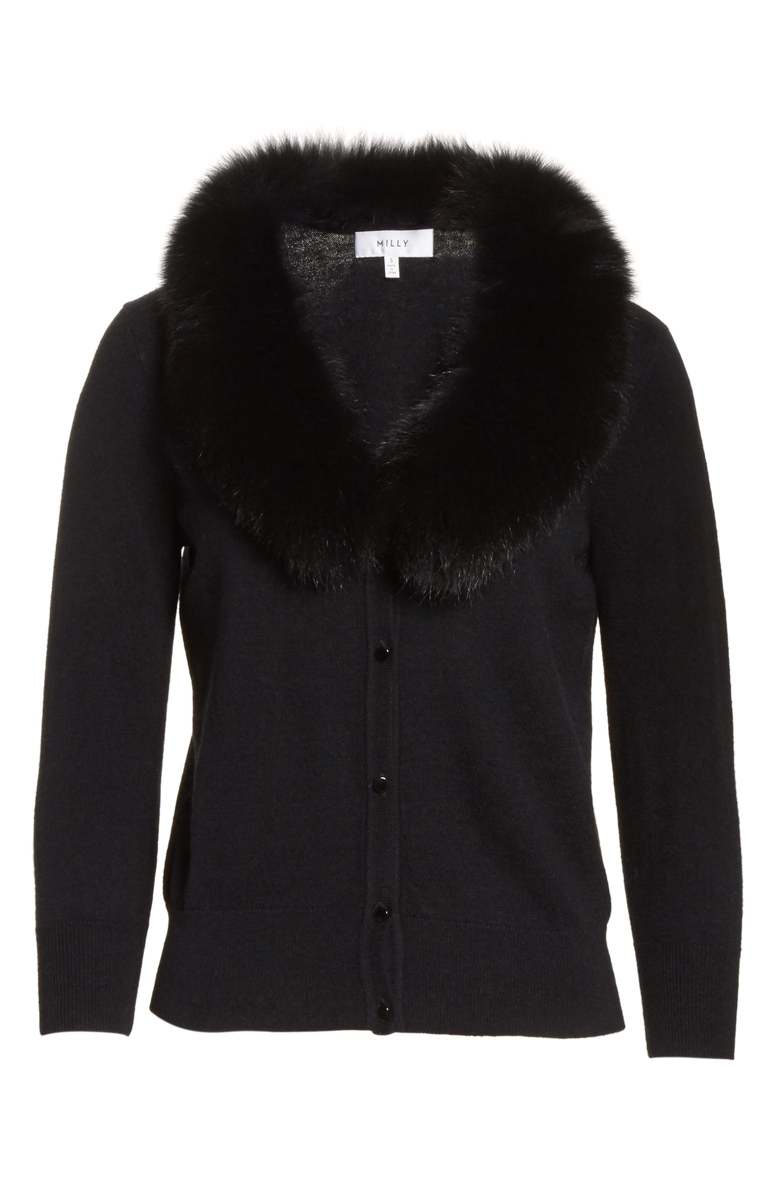 Genuine Fox Fur Collar Cardigan,                             Alternate thumbnail 6, color,