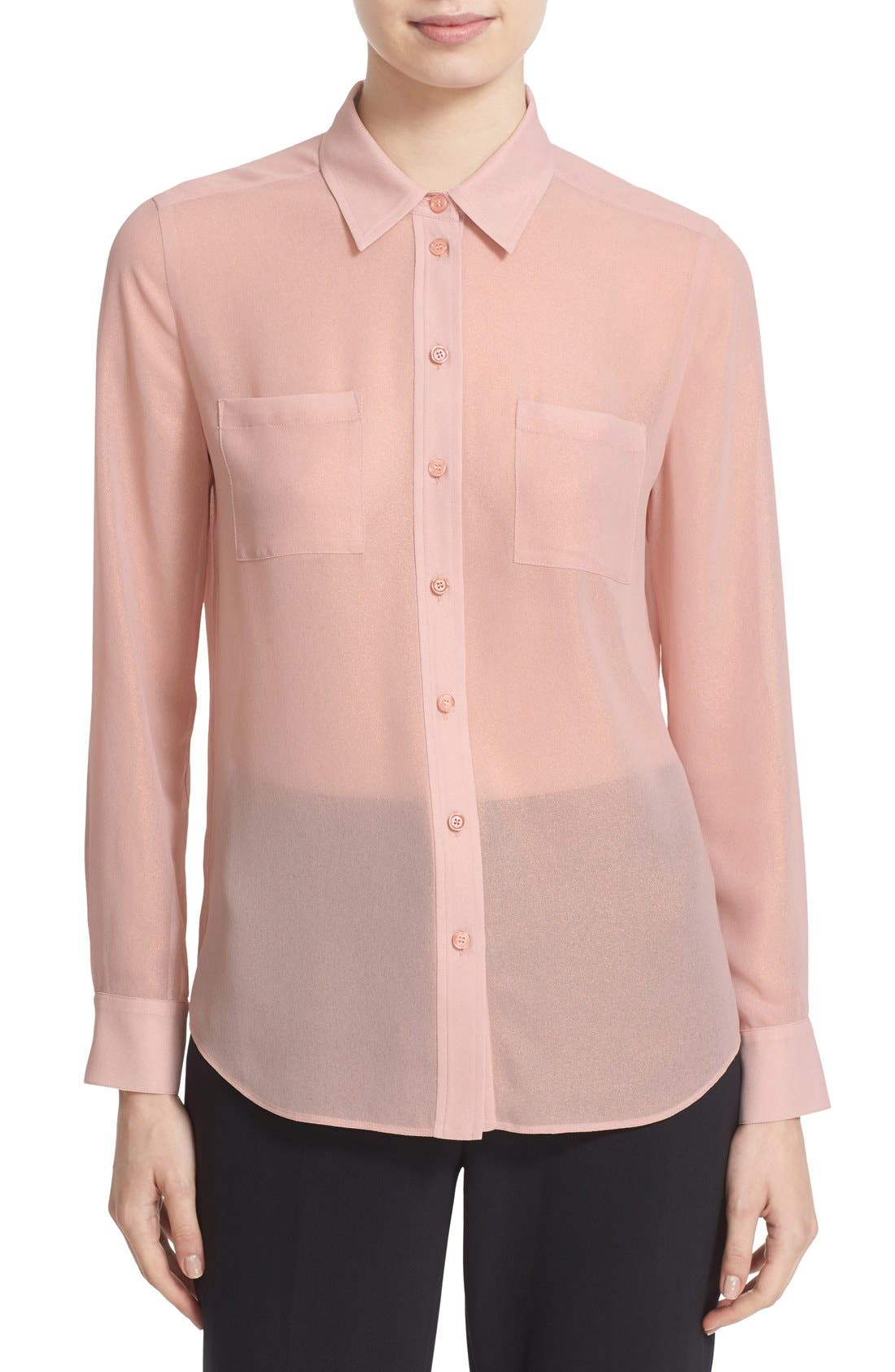 foiled chiffon shirt,                         Main,                         color, 650