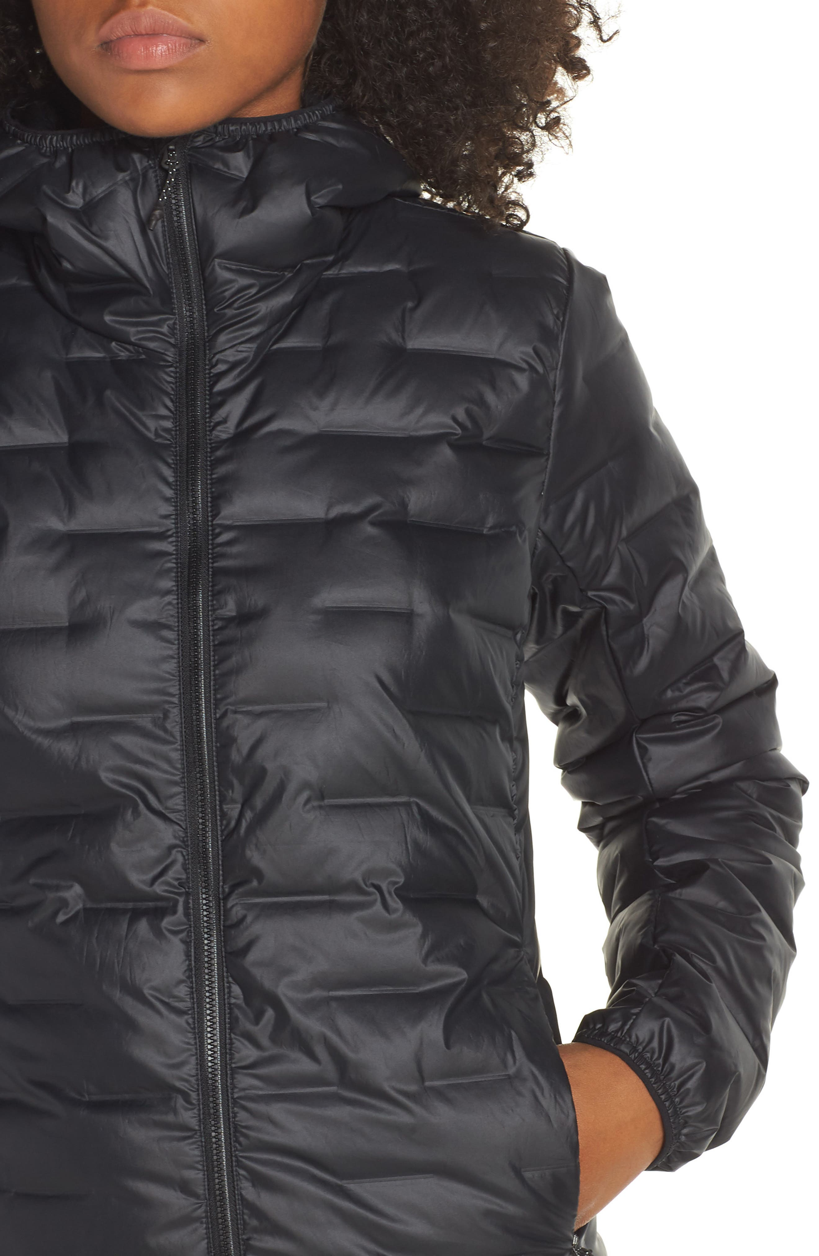 Light Packable Hooded Down Jacket,                             Alternate thumbnail 4, color,                             001