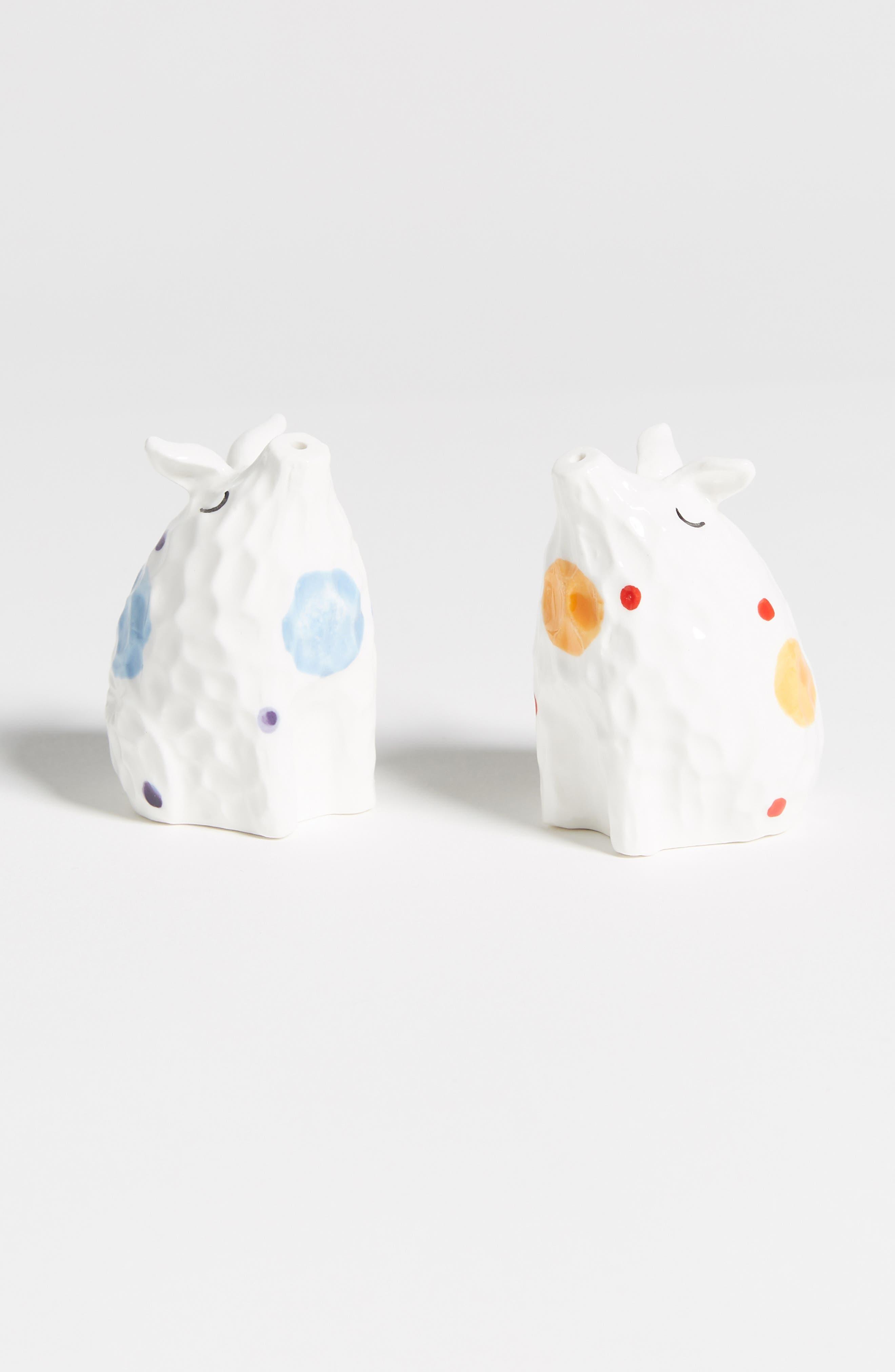 Dot Tile Pig Salt & Pepper Shakers, Main, color, WHITE