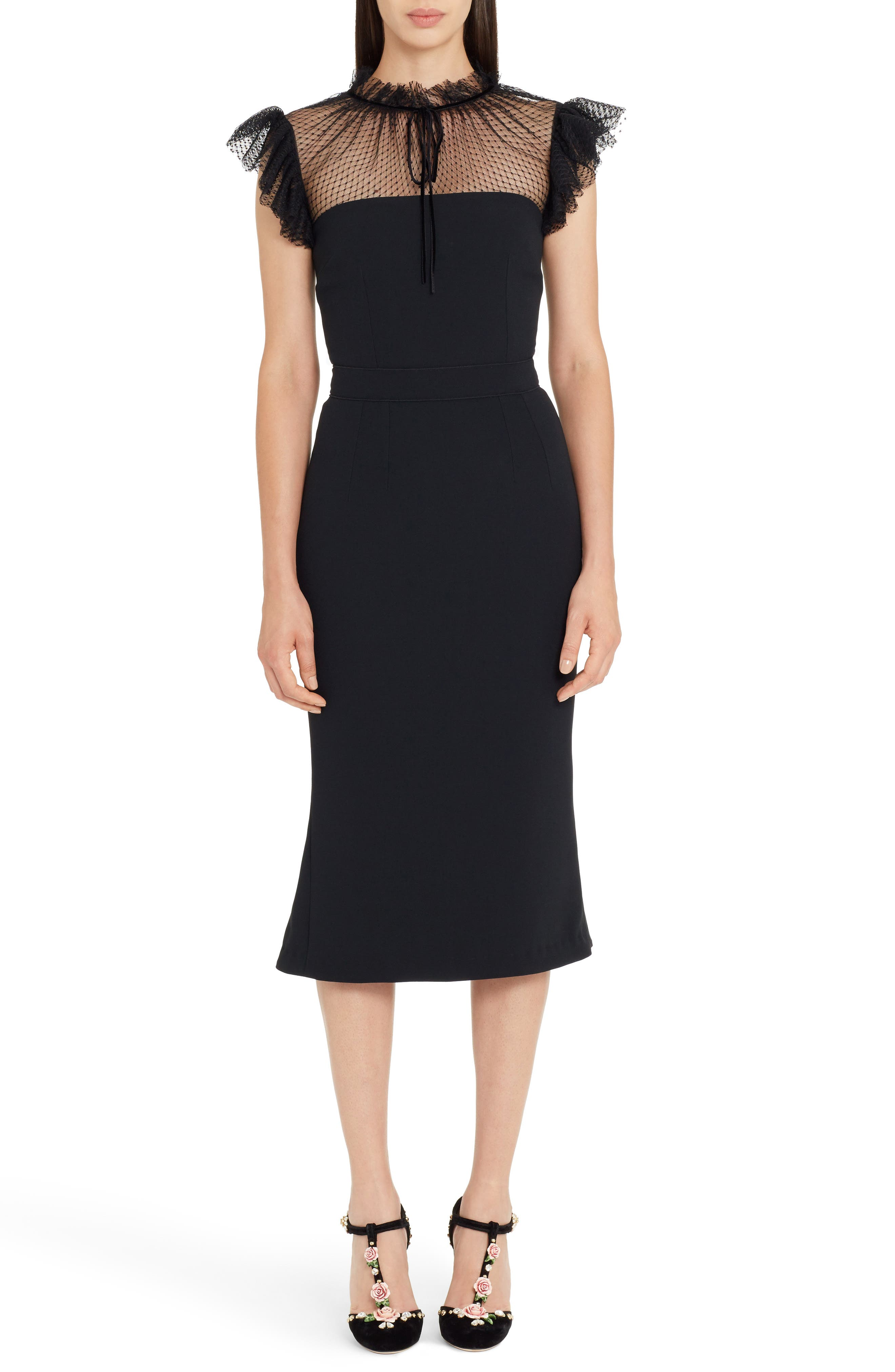 Mesh Yoke Stretch Cady Sheath Dress,                             Main thumbnail 1, color,                             BLACK