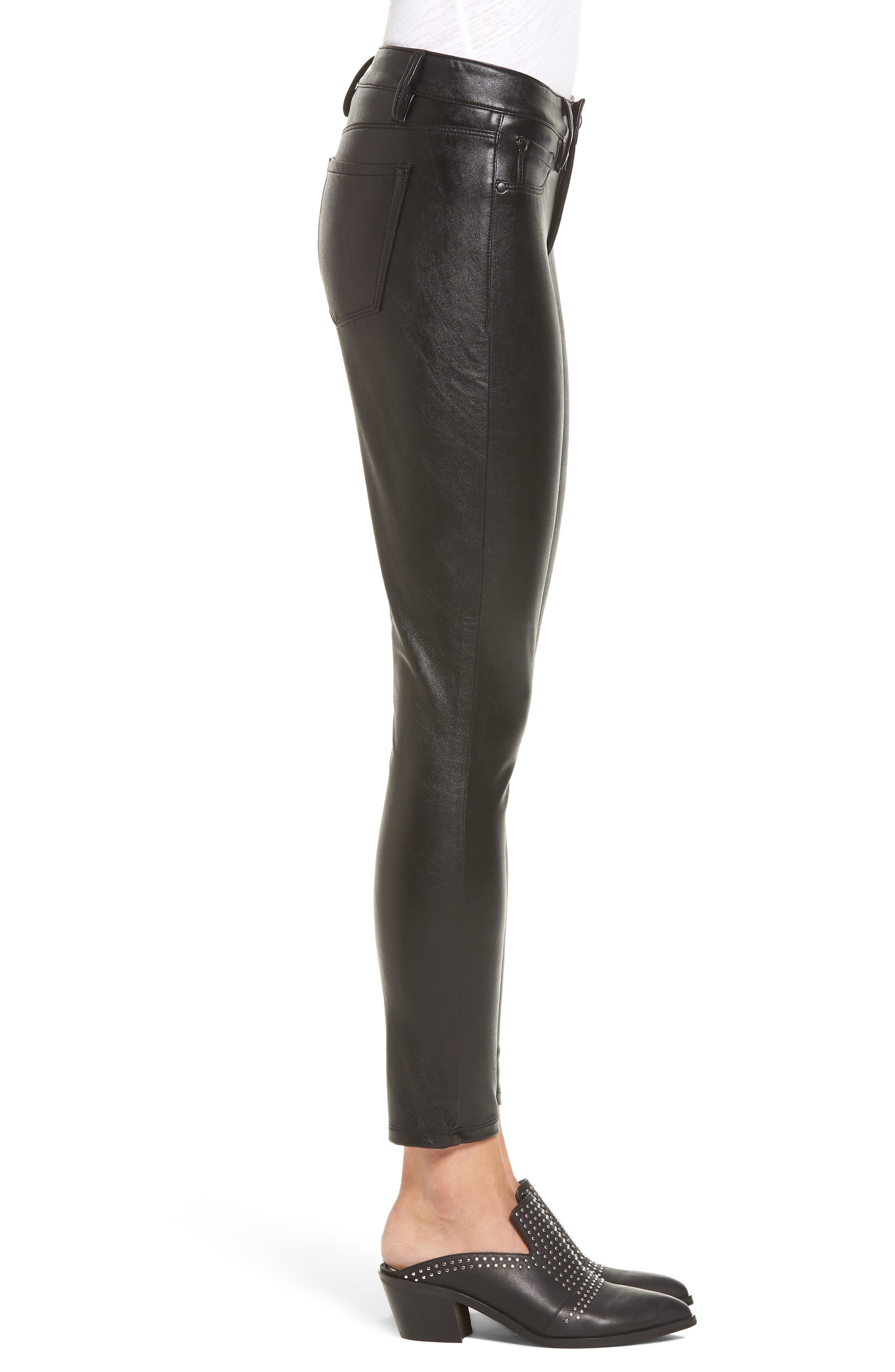 Faux Leather Skinny Jeans,                             Alternate thumbnail 3, color,                             001
