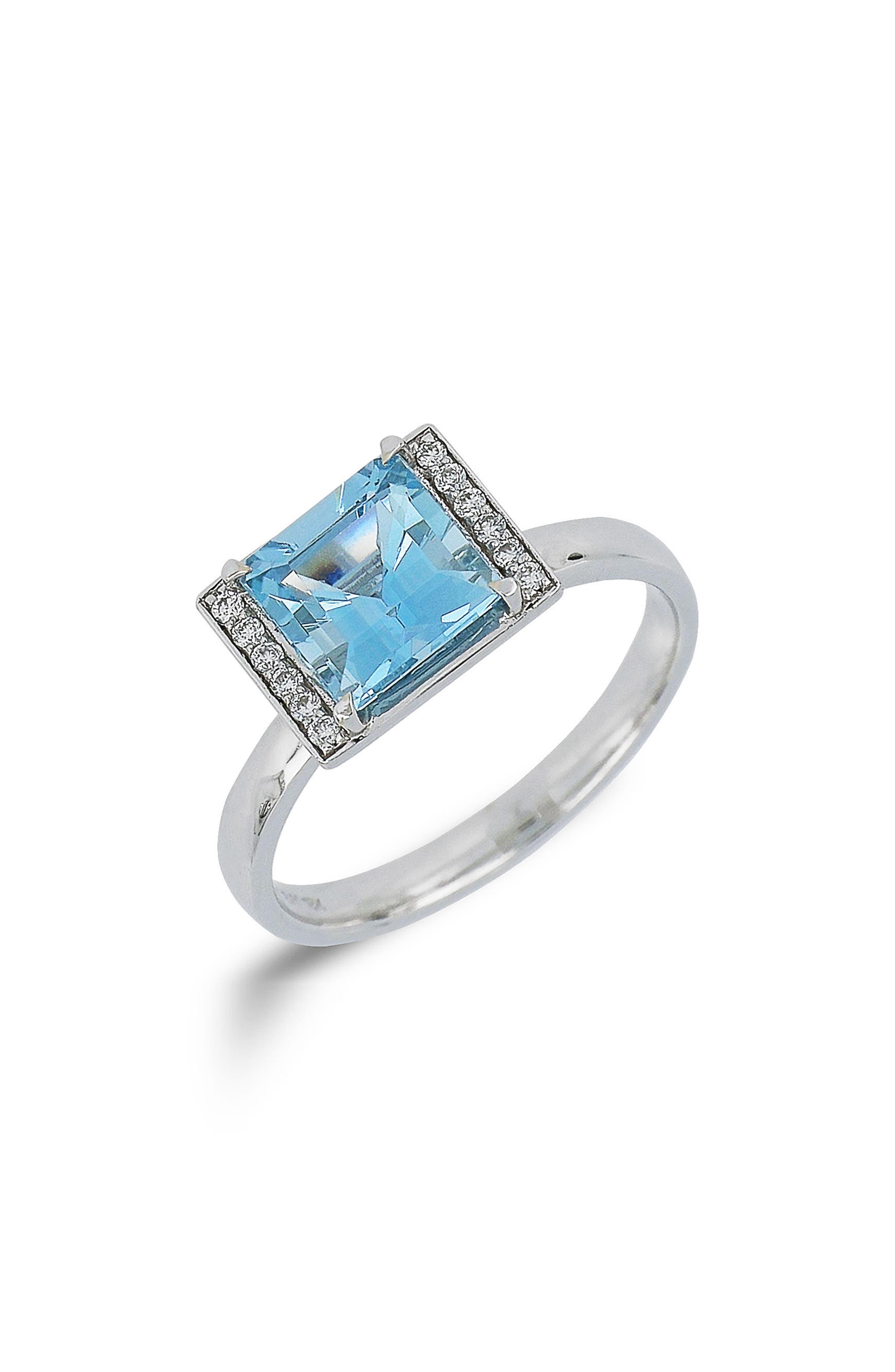 Square Aquamarine & Diamond Ring,                         Main,                         color,